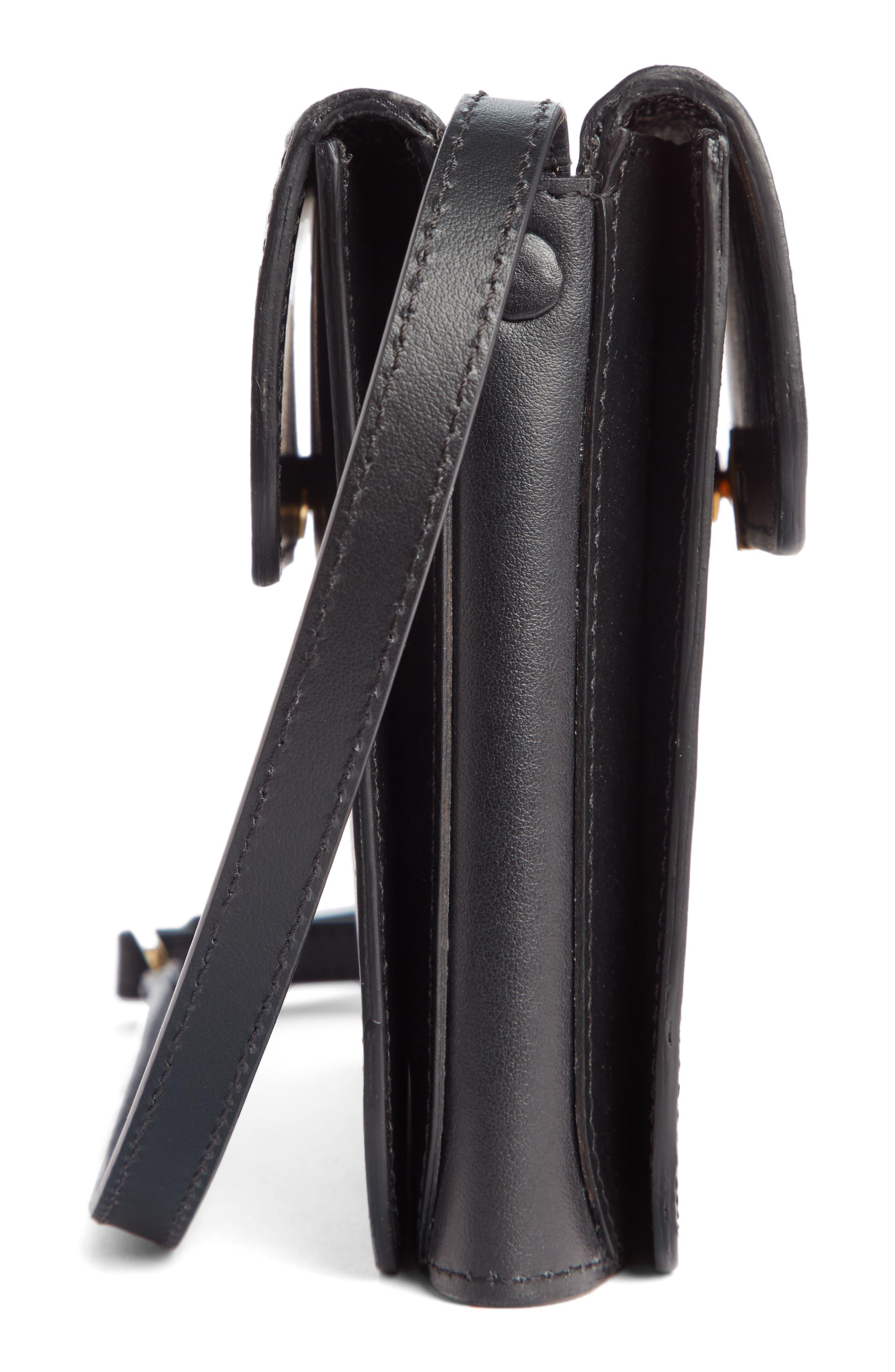 VICTORIA BECKHAM, Twin Leather Crossbody Bag, Alternate thumbnail 5, color, BLACK