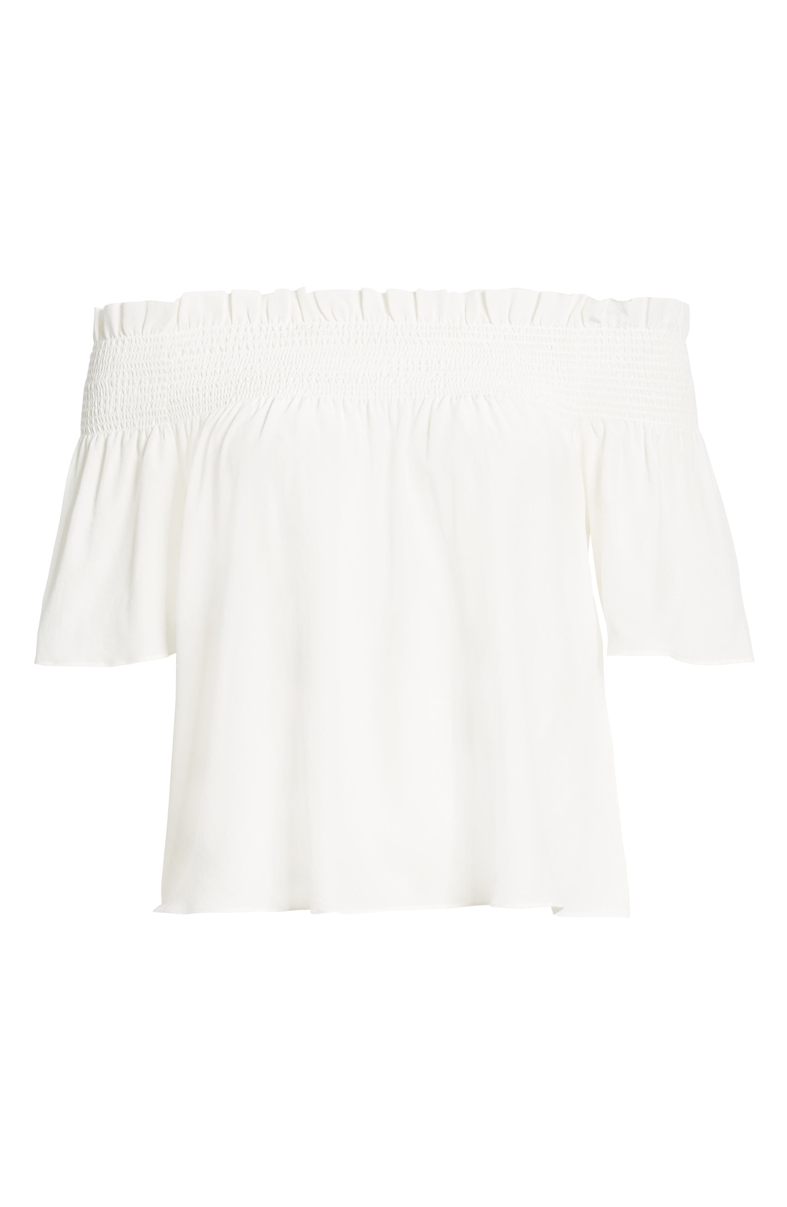 7 FOR ALL MANKIND<SUP>®</SUP>, Off the Shoulder Smocked Silk Top, Alternate thumbnail 6, color, NATURAL WHITE
