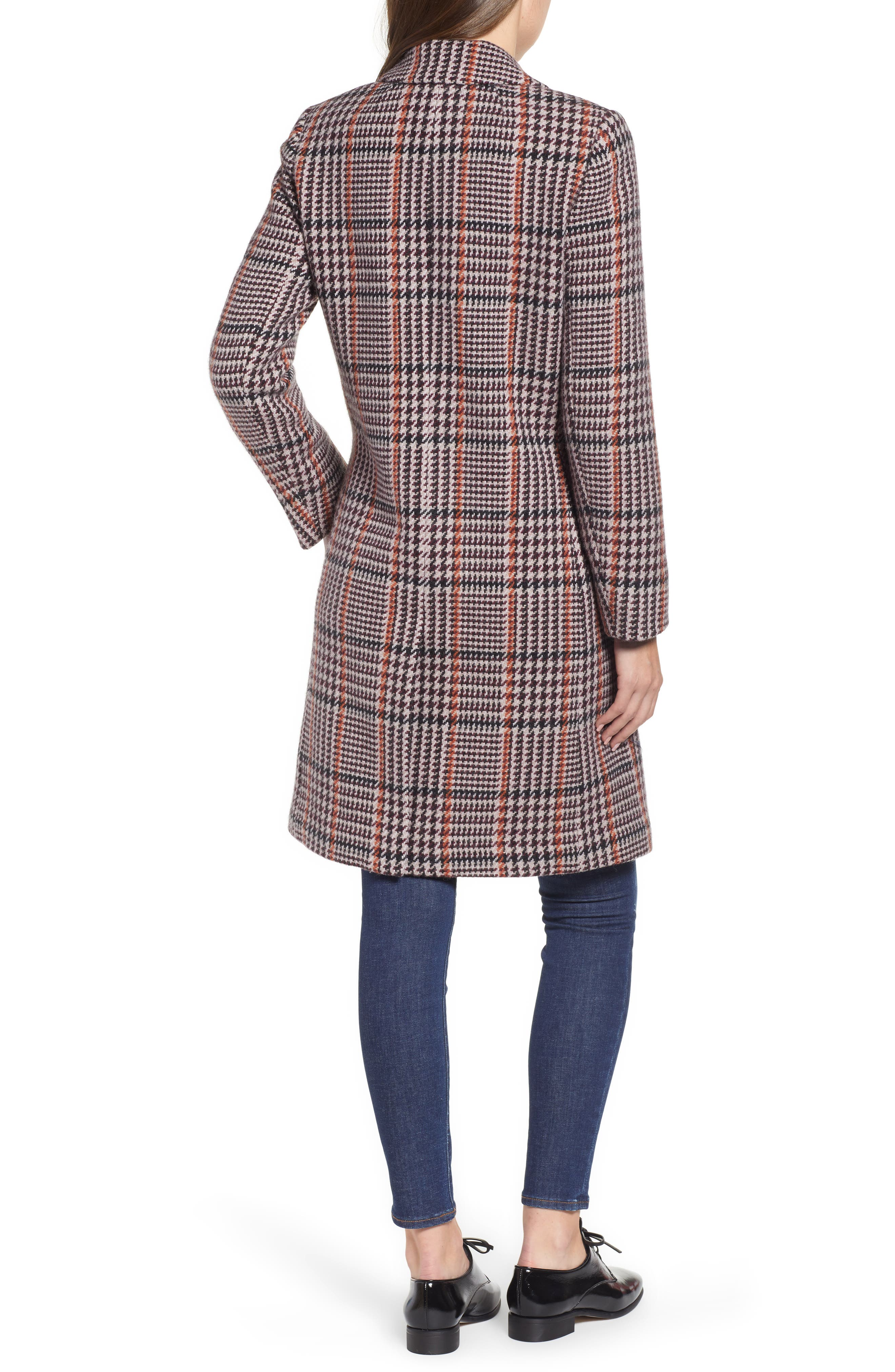 J.CREW, Plaid Single Breasted Topcoat, Alternate thumbnail 2, color, 600