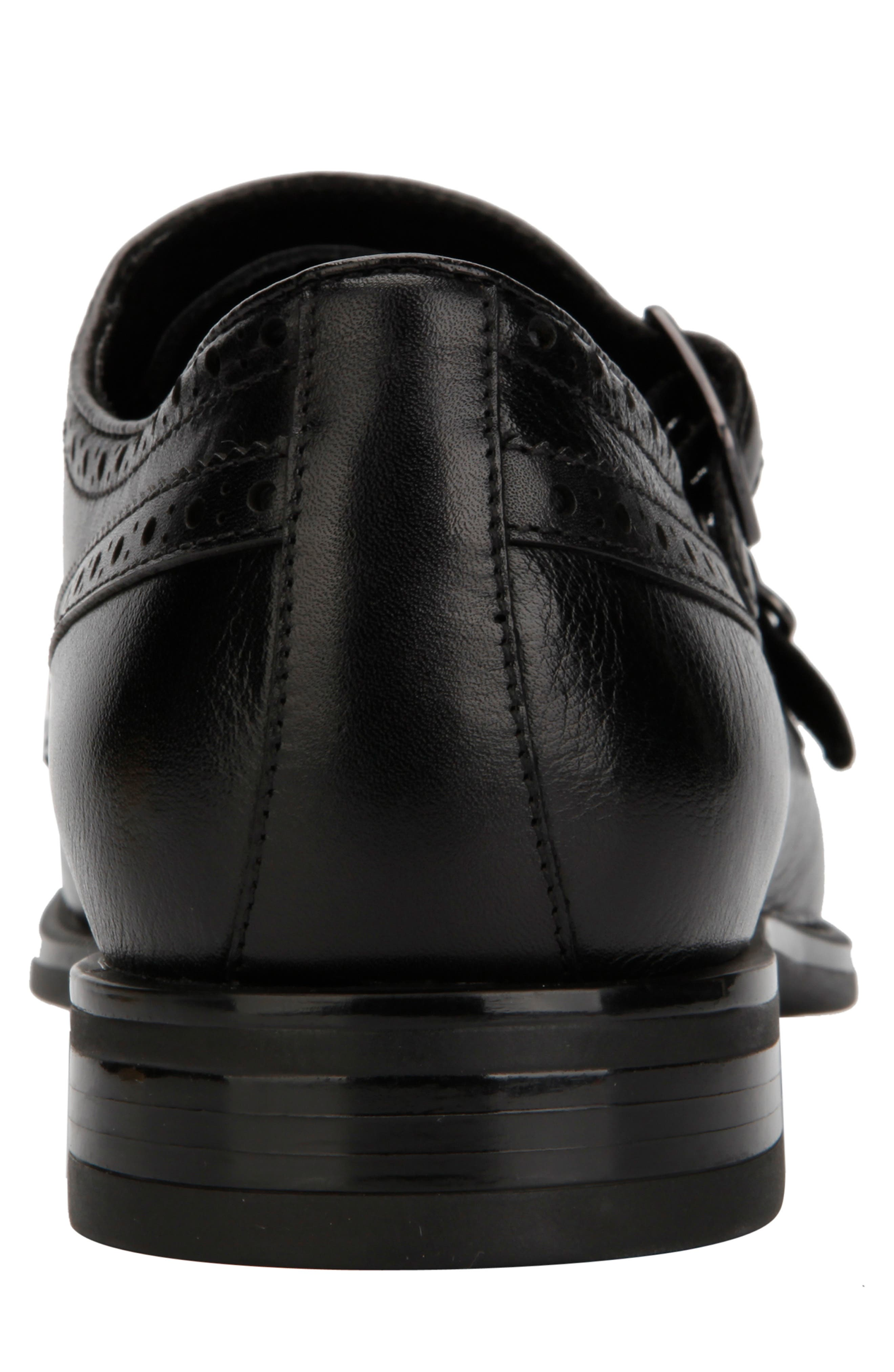 KENNETH COLE NEW YORK, Futurepod Double Monk Strap Shoe, Alternate thumbnail 5, color, BLACK TUMBLED LEATHER
