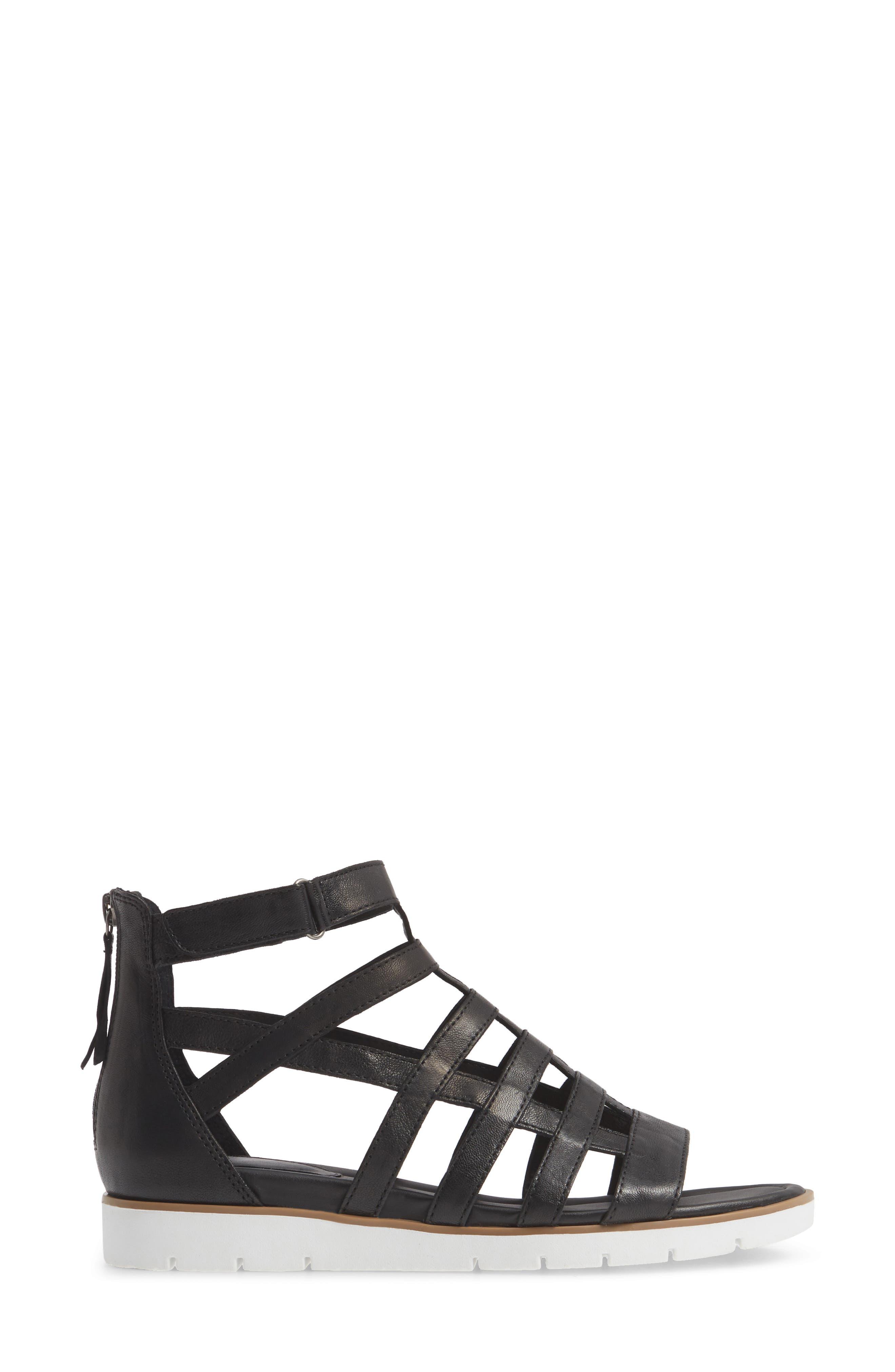 SÖFFT, Mahari Gladiator Sandal, Alternate thumbnail 3, color, BLACK LEATHER