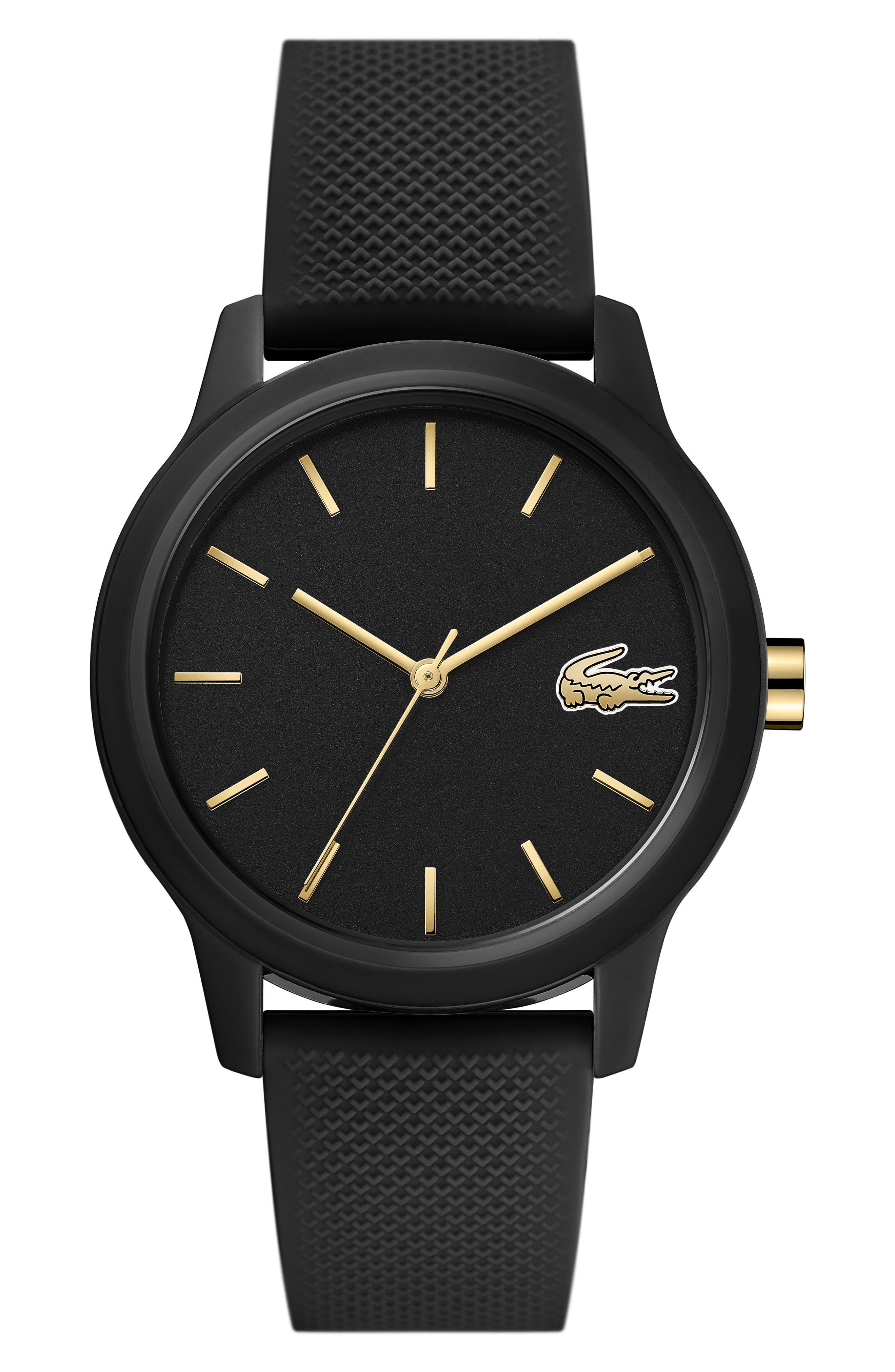 LACOSTE 12.12 Silicone Strap Watch, 36mm, Main, color, BLACK