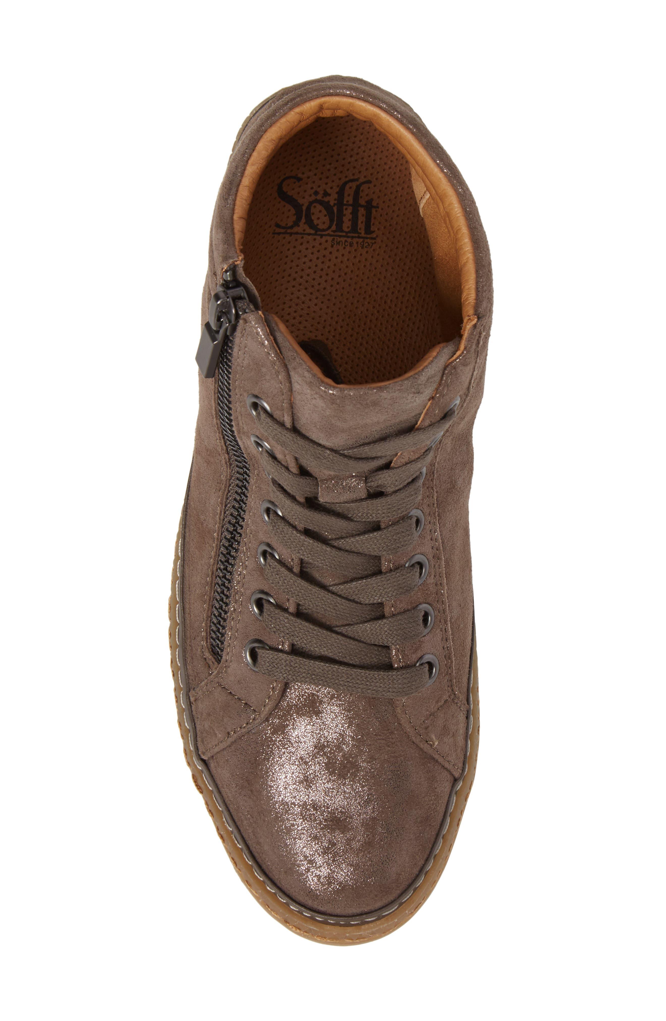 SÖFFT, Annaleigh High Top Sneaker, Alternate thumbnail 5, color, SMOKE FOIL SUEDE