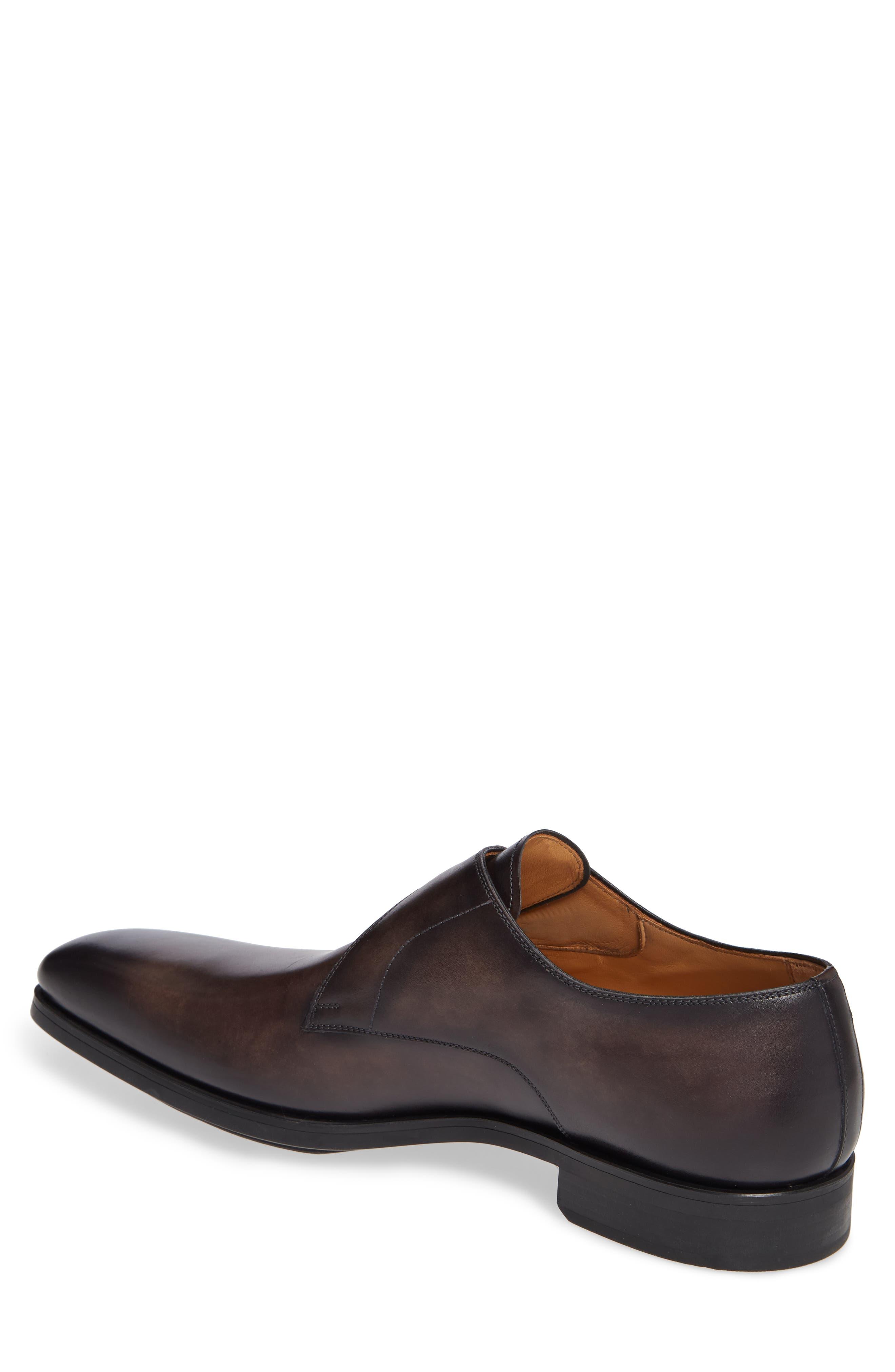 MAGNANNI, Roddy Diversa Plain Toe Monk Strap Shoe, Alternate thumbnail 2, color, GREY LEATHER