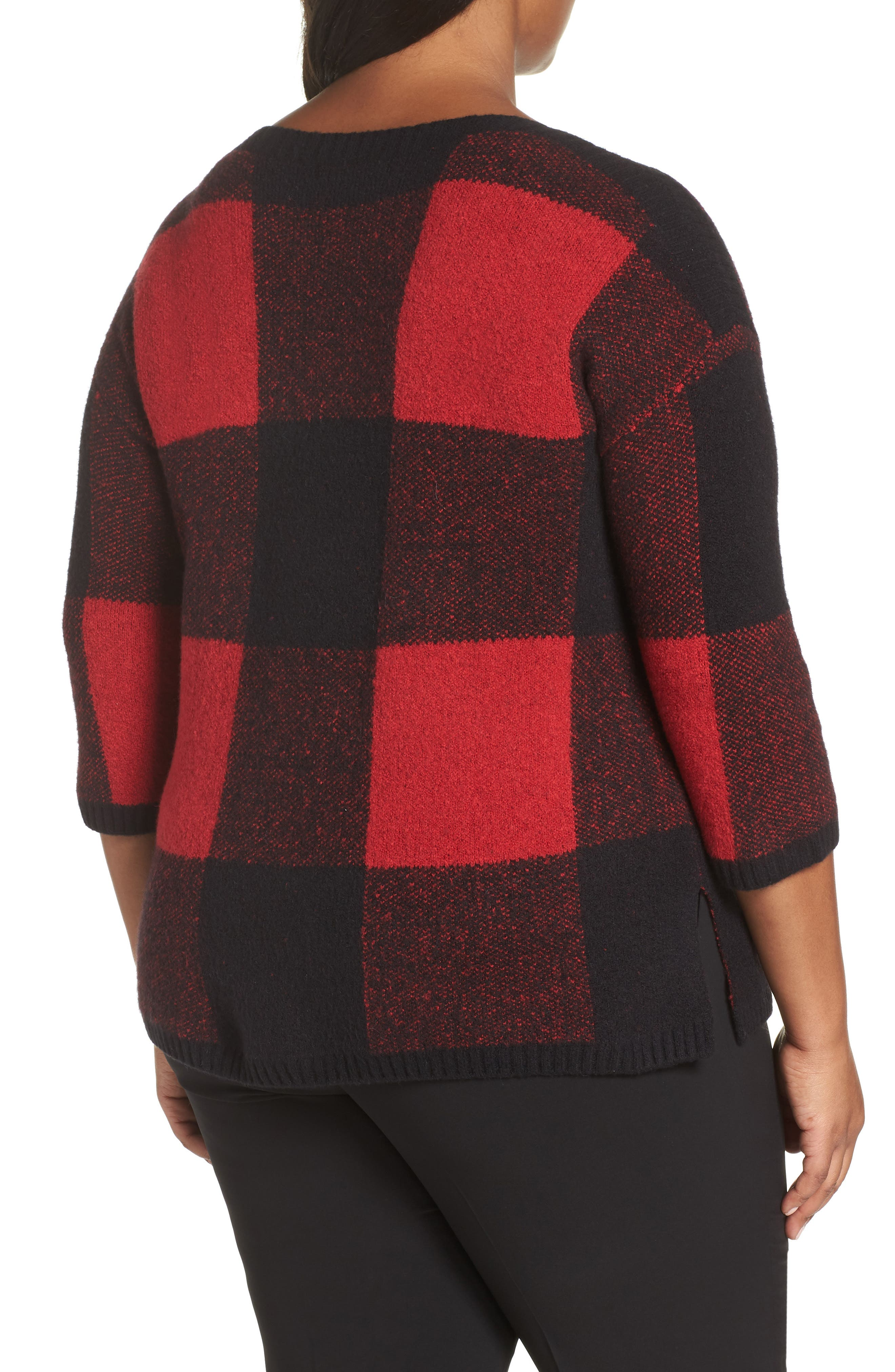 SEJOUR, Buffalo Plaid Sweater, Alternate thumbnail 2, color, BLACK-RED BUFFALO CHECK