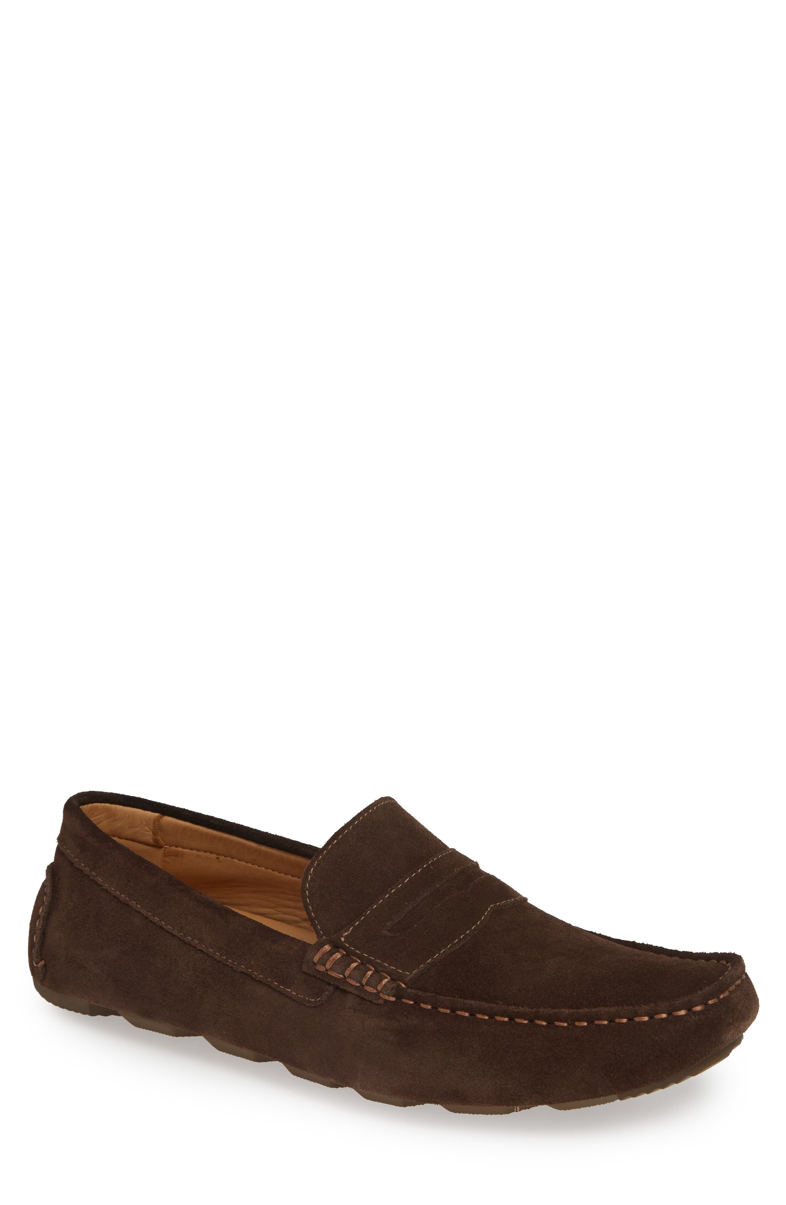 1901, Bermuda Penny Loafer, Main thumbnail 1, color, BROWN SUEDE