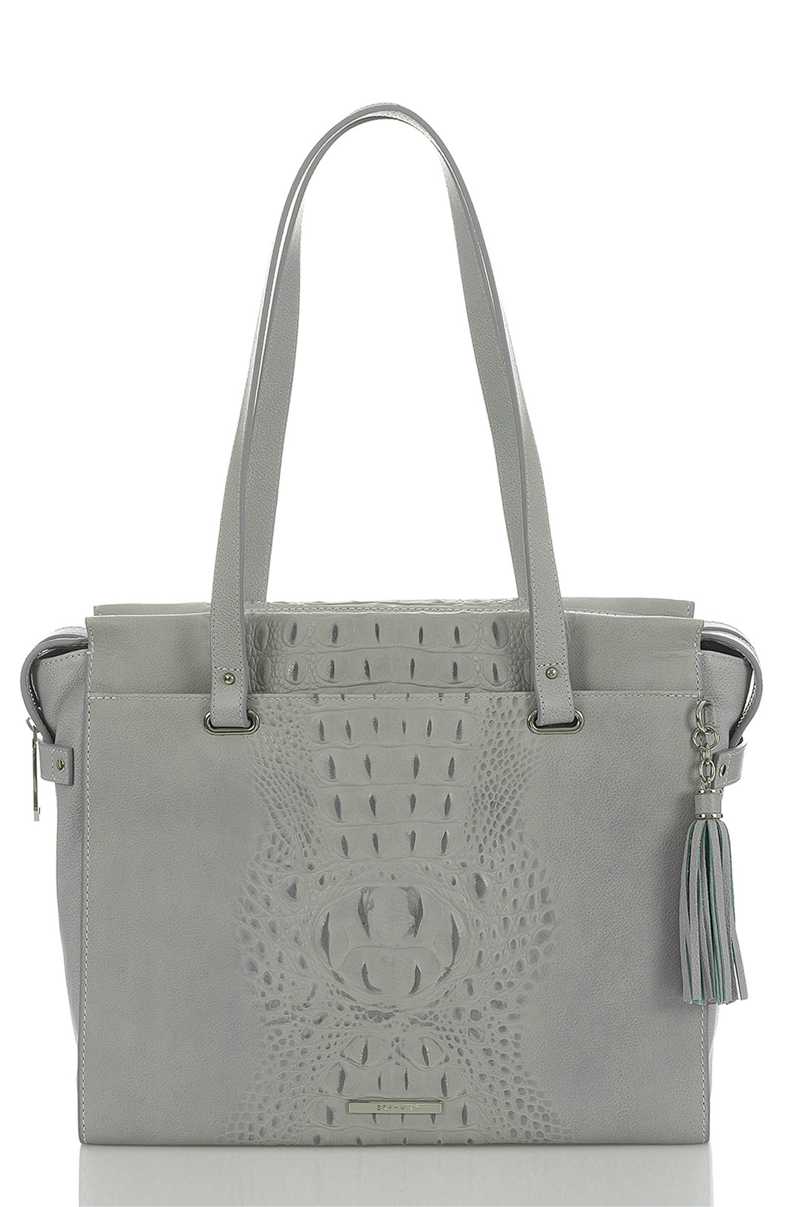 BRAHMIN Medium Emily Leather Tote, Main, color, OCEAN