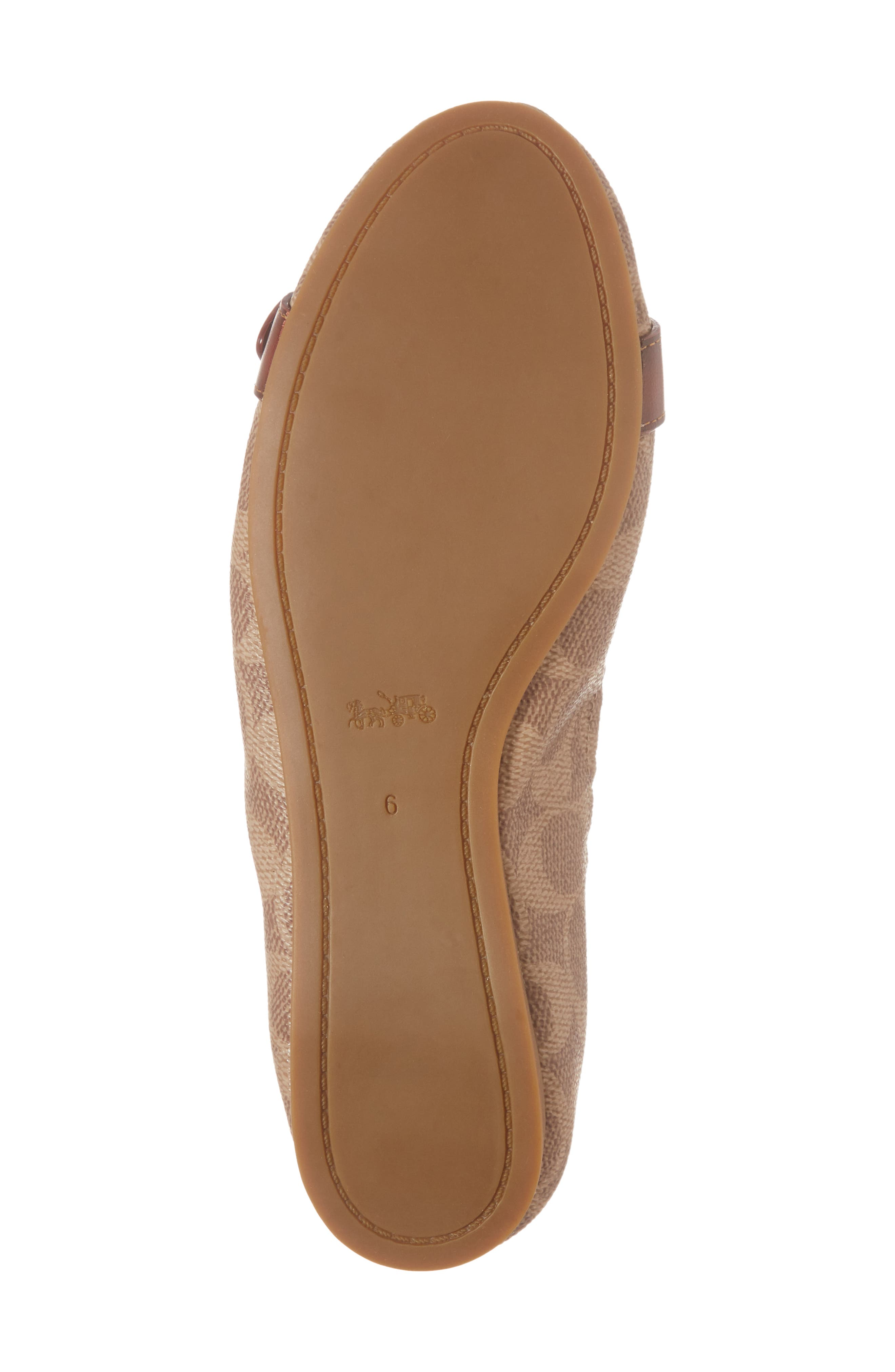 COACH, Stanton Buckle Flat, Alternate thumbnail 6, color, BROWN LEATHER