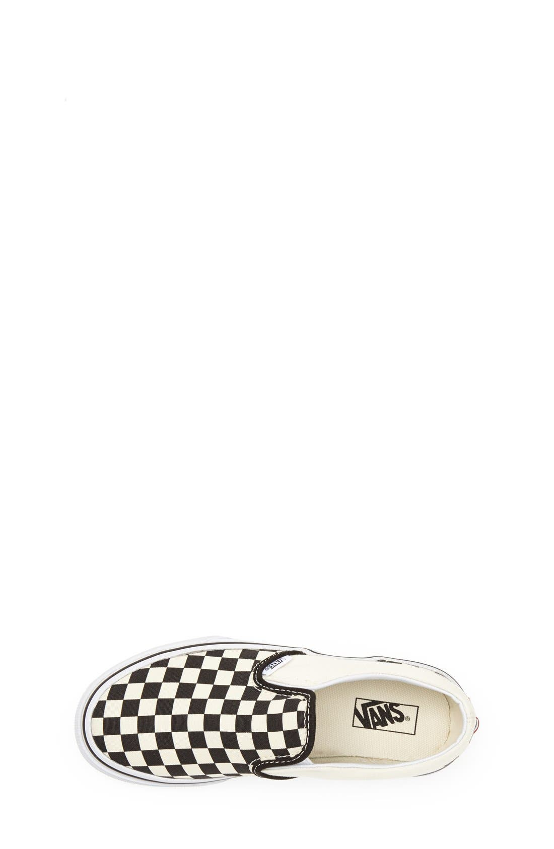 VANS, 'Classic - Checkerboard' Slip-On, Alternate thumbnail 5, color, BLACK/ WHITE CHECKERBOARD
