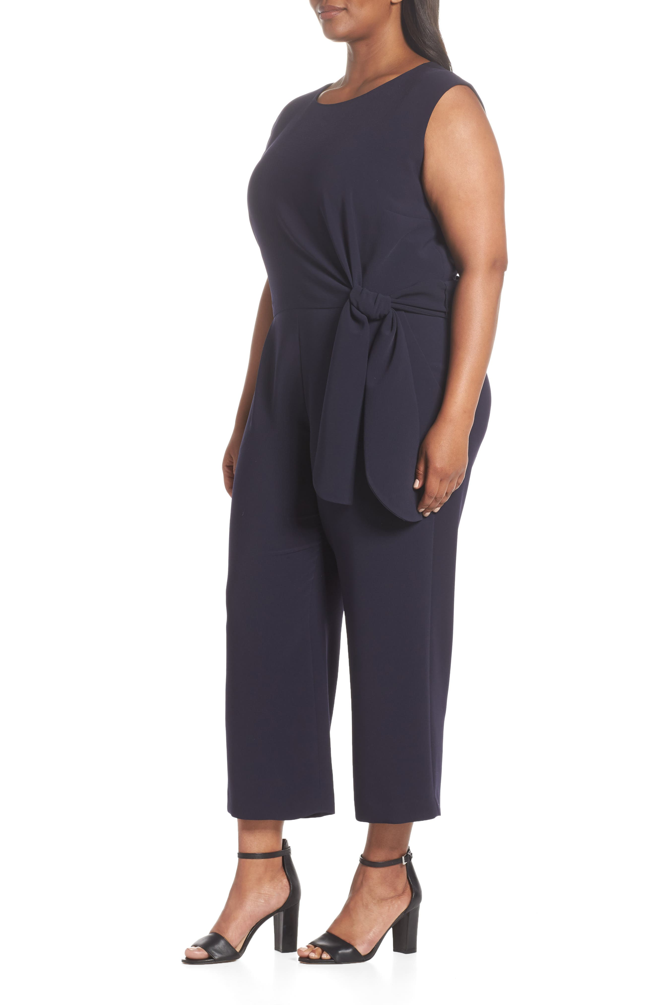 TAHARI, Tie Waist Crop Crepe Jumpsuit, Alternate thumbnail 3, color, NAVY