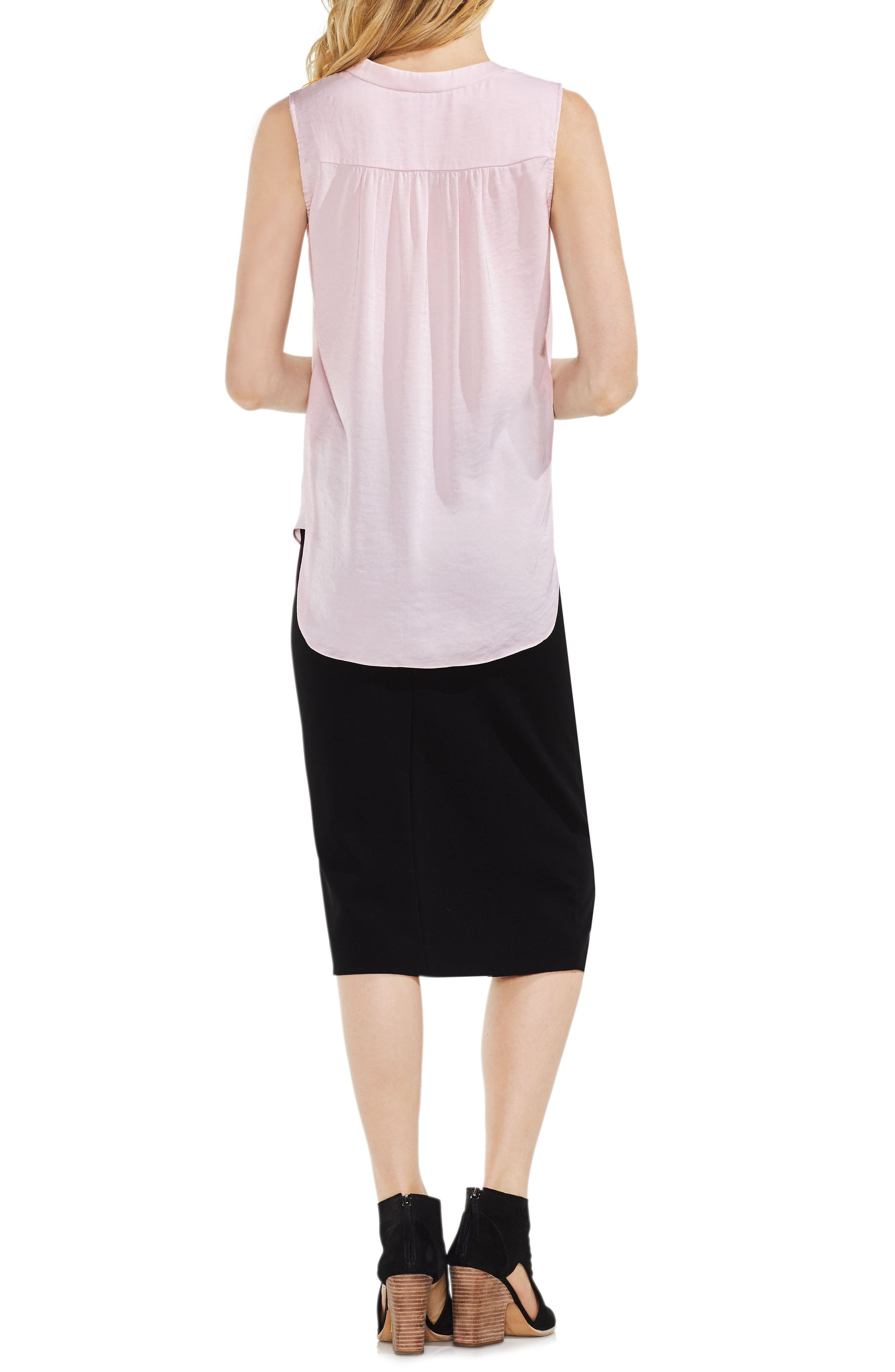 VINCE CAMUTO, Rumpled Satin Blouse, Alternate thumbnail 4, color, PINK BLISS
