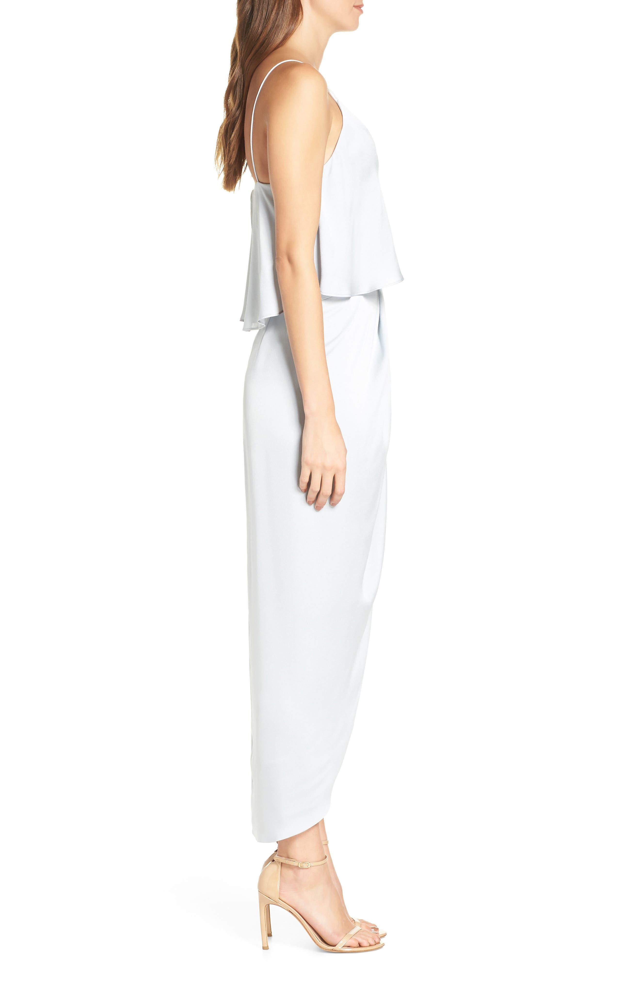 SHONA JOY, Luxe Frill Tulip Hem Maxi Dress, Alternate thumbnail 4, color, CLOUD