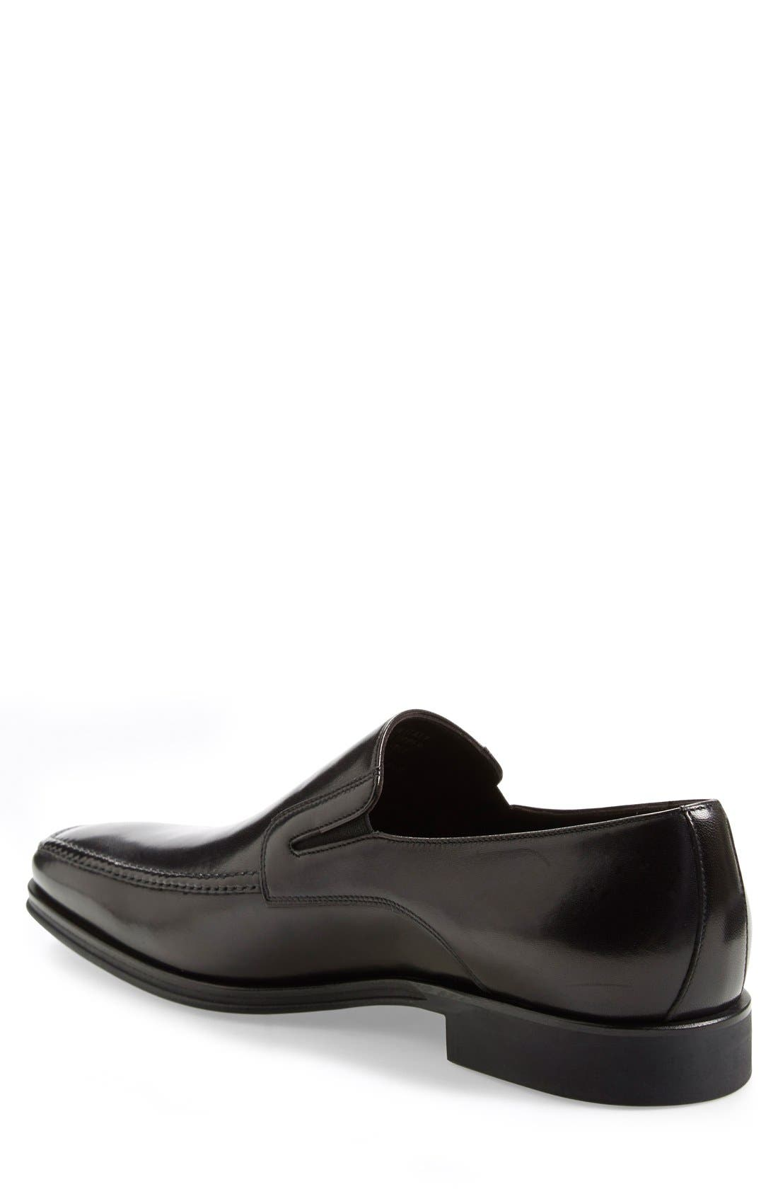 MONTE ROSSO, Lucca Nappa Leather Loafer, Alternate thumbnail 8, color, BLACK