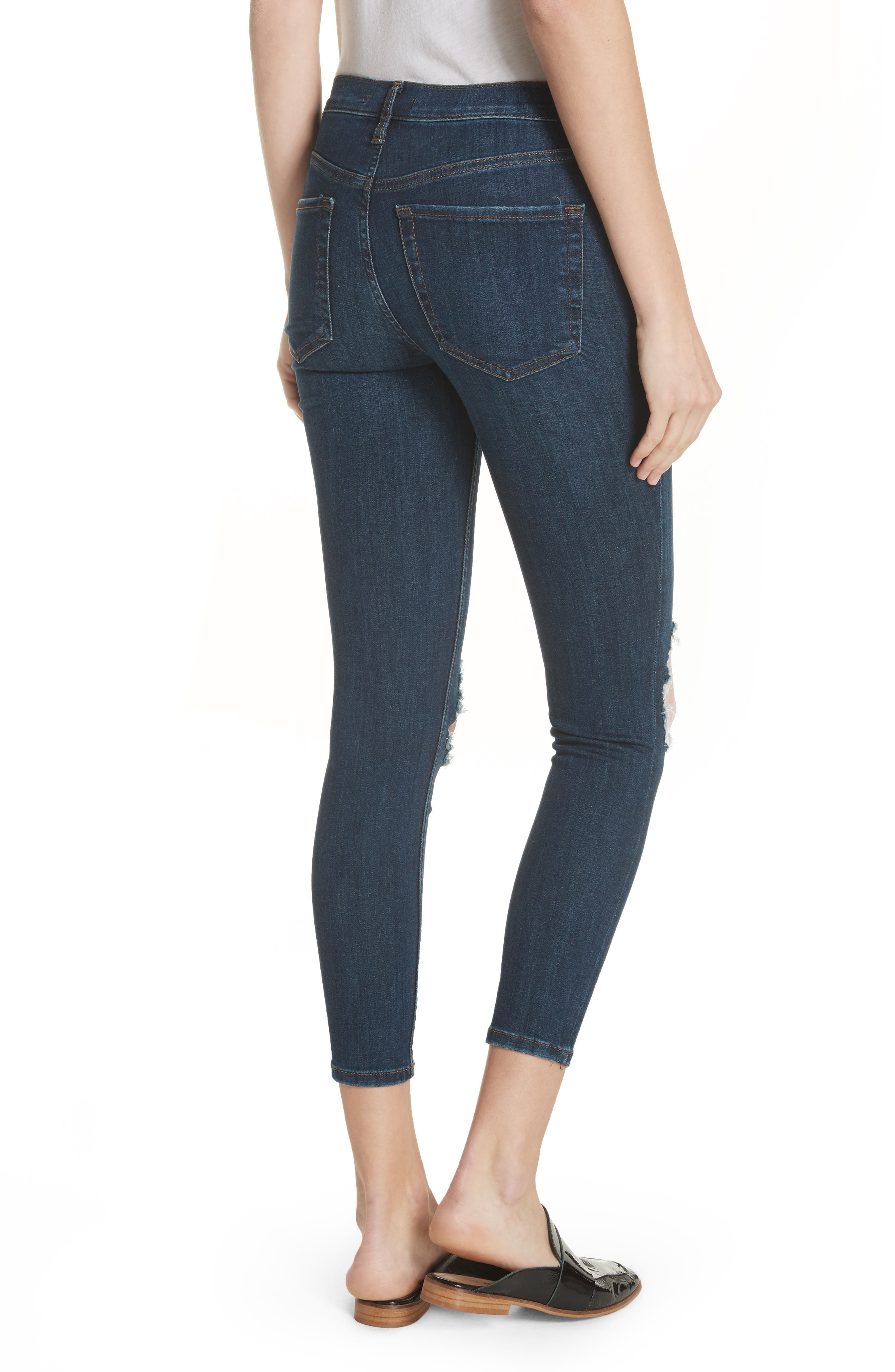 FREE PEOPLE, We the Free by Free People High Waist Ankle Skinny Jeans, Alternate thumbnail 2, color, DARK BLUE