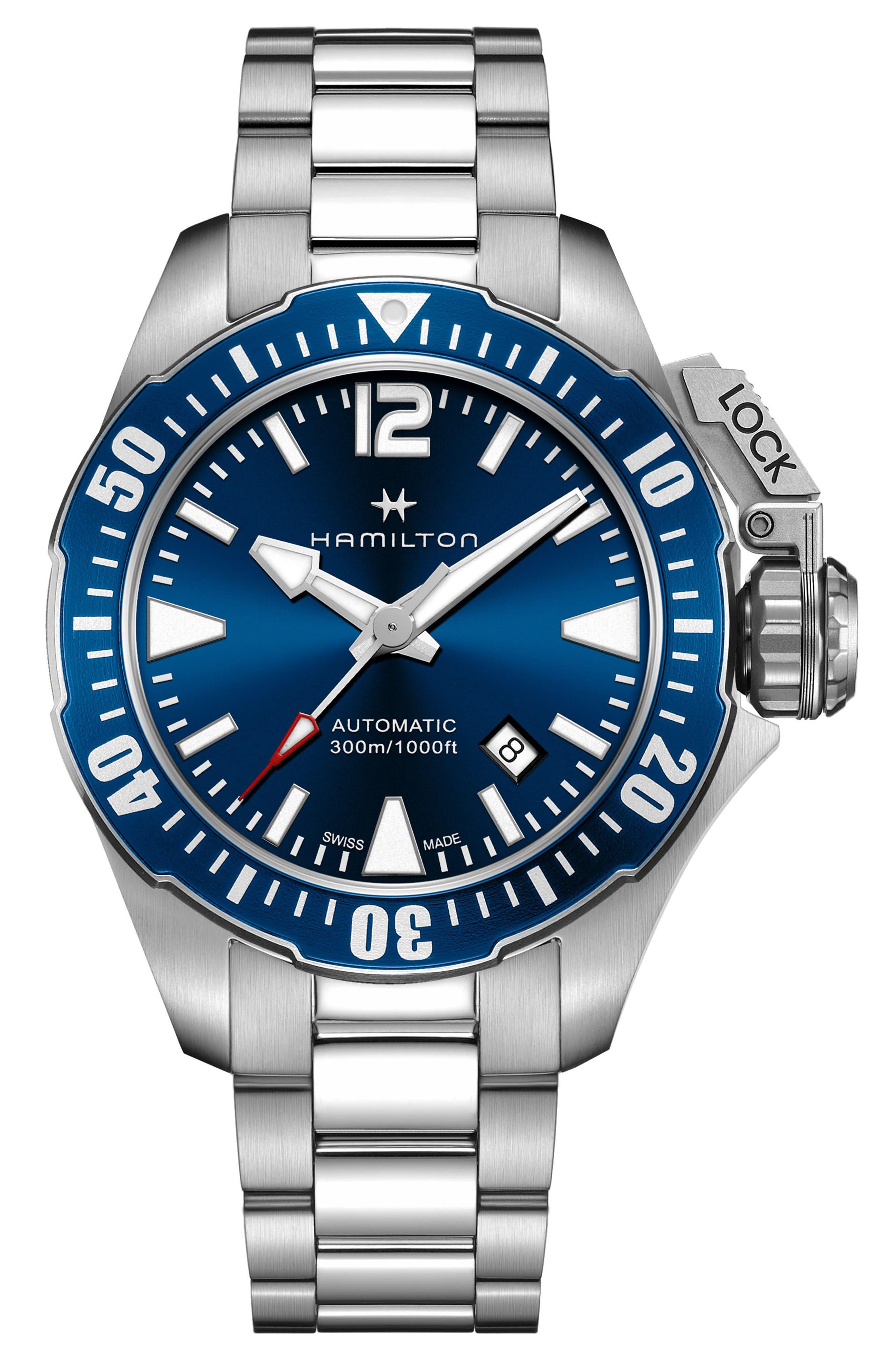 HAMILTON, Khaki Navy Frogman Automatic Bracelet Watch, 42mm, Main thumbnail 1, color, SILVER/ BLUE/ SILVER