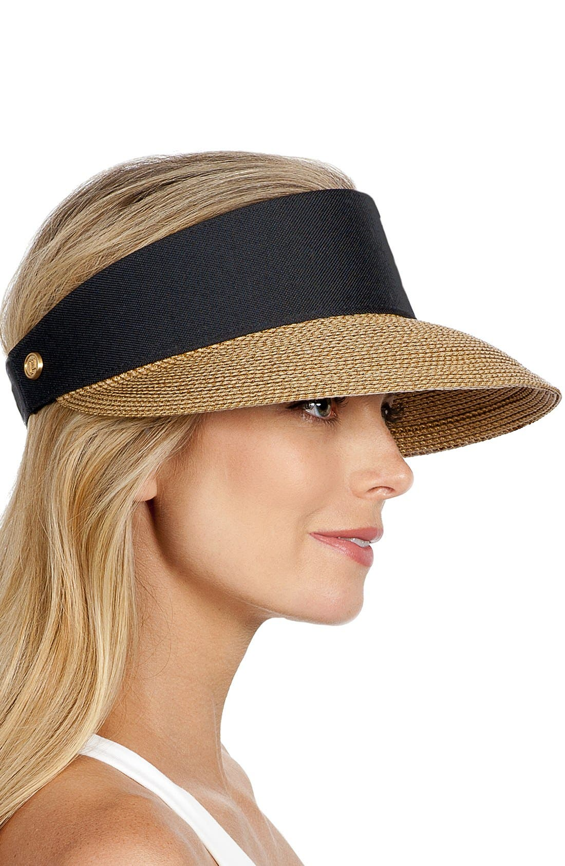 ERIC JAVITS, 'Squishee<sup>®</sup> Champ' Custom Fit Visor, Alternate thumbnail 4, color, BLACK