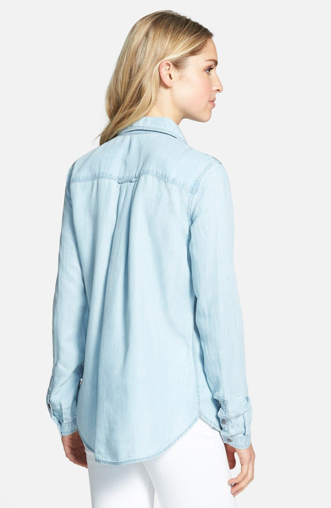 PAIGE, Denim 'Bellamy' Button Front Denim Shirt, Alternate thumbnail 3, color, 400