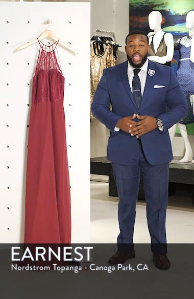 Lace & Chiffon Halter Gown, sales video thumbnail