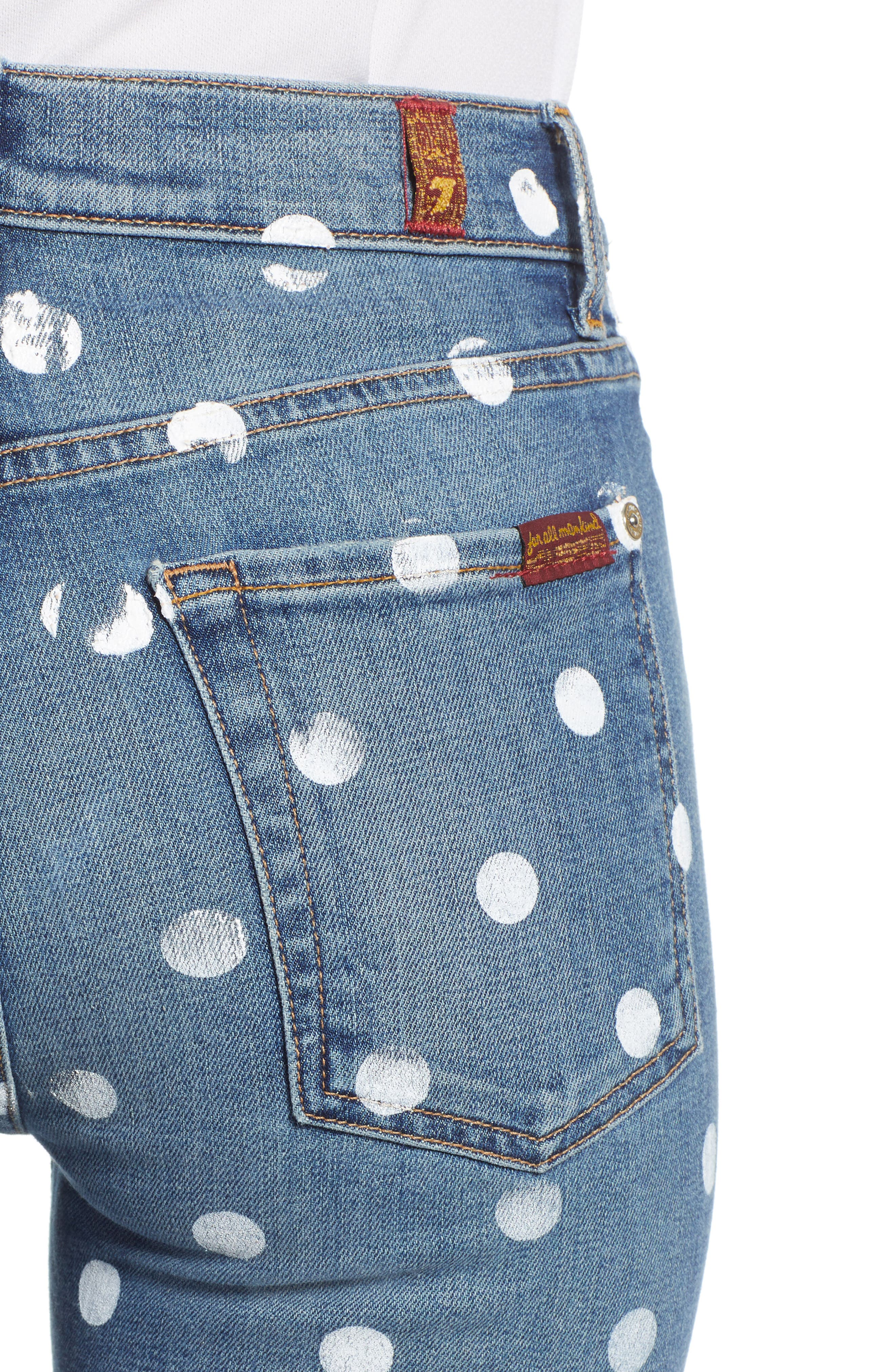 7 FOR ALL MANKIND<SUP>®</SUP>, Polka Dot High Waist Ankle Skinny Jeans, Alternate thumbnail 5, color, RIDGEMONT VINTAGE