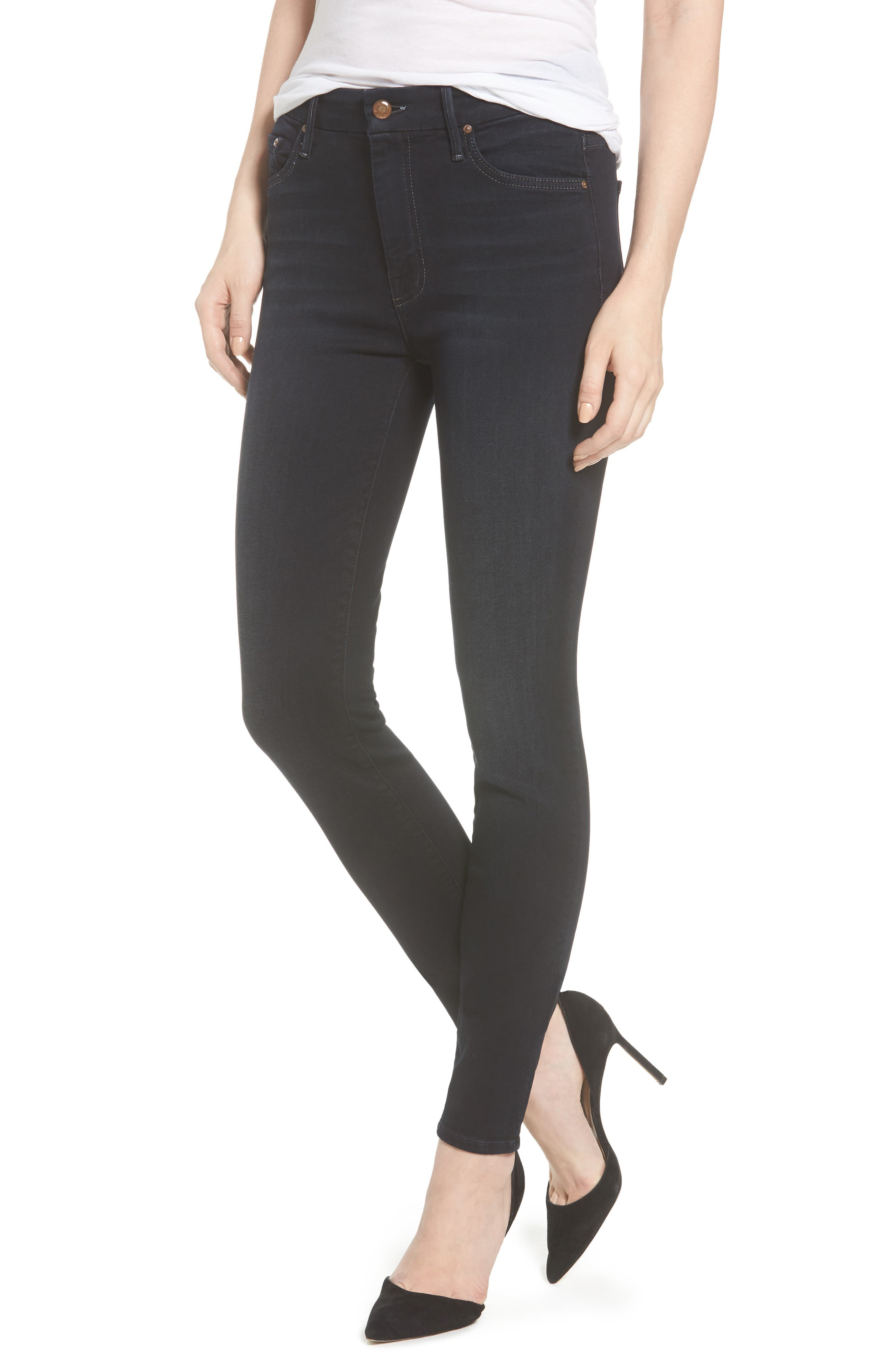 MOTHER, 'The Looker' High Rise Skinny Jeans, Main thumbnail 1, color, COFFEE TEA OR ME