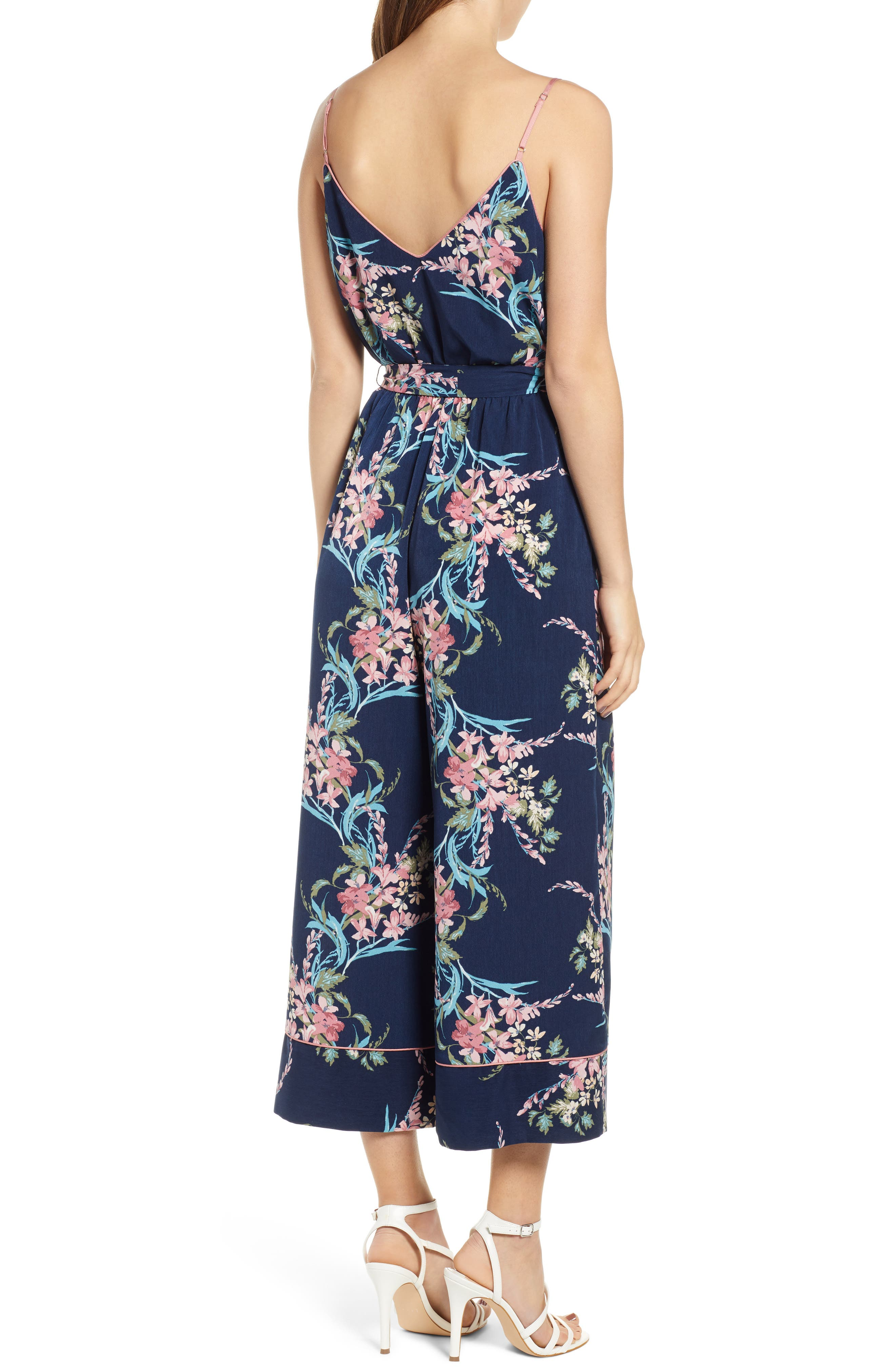 LEITH, Piped Cami Jumpsuit, Alternate thumbnail 4, color, NAVY PEACOAT FEM FLORAL