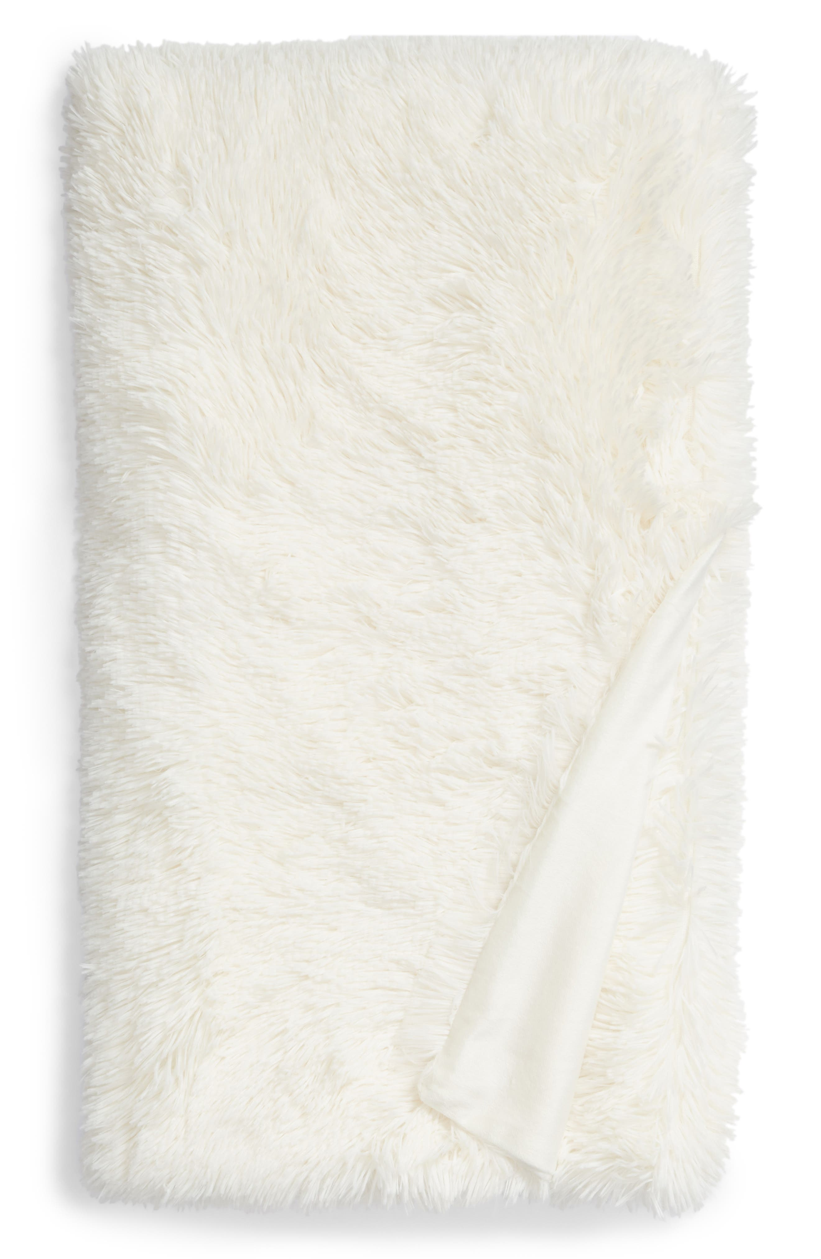 NORDSTROM AT HOME, Feather Throw, Alternate thumbnail 2, color, IVORY
