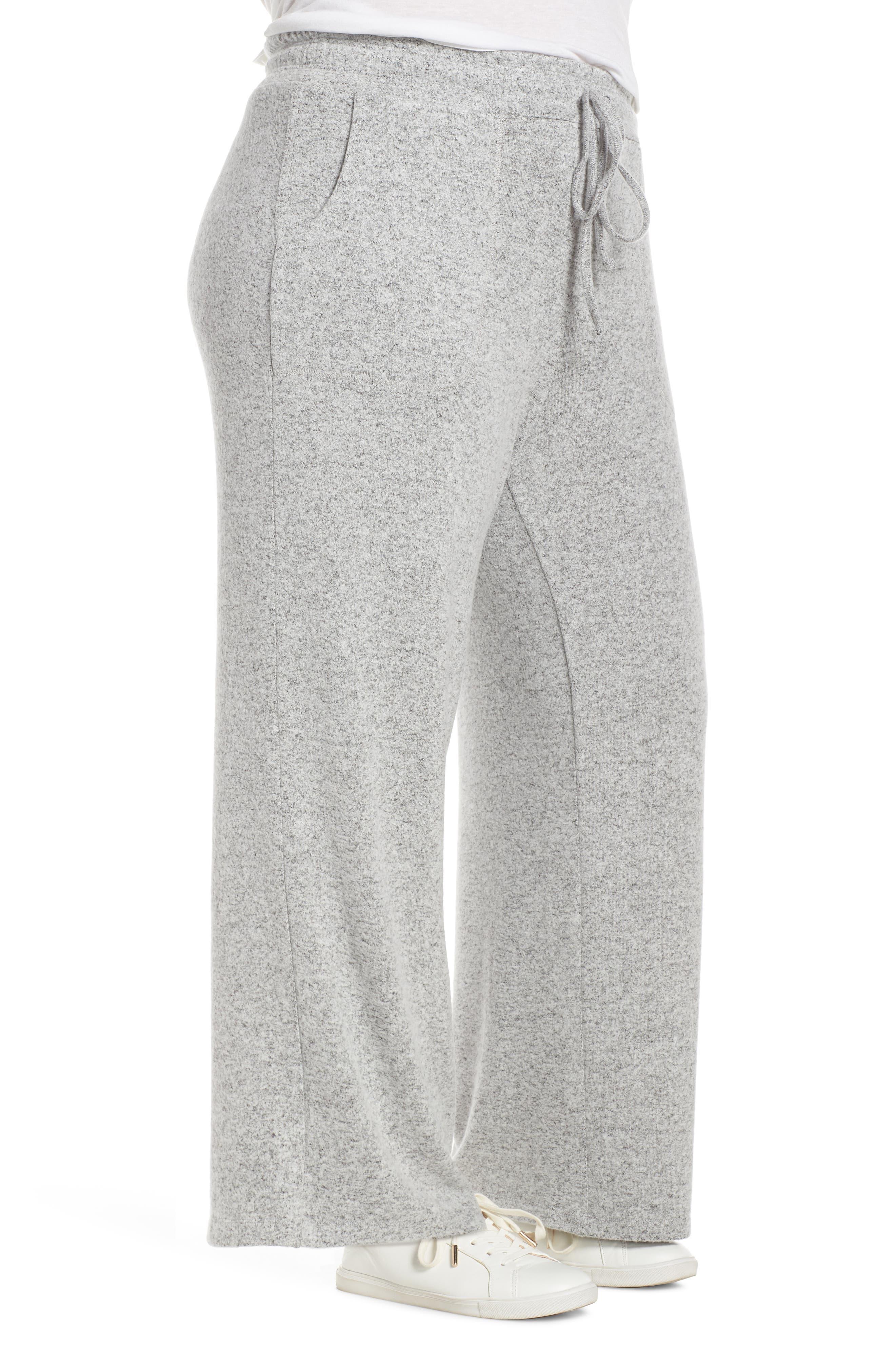 LEMON TART, Norah Knit Lounge Pants, Alternate thumbnail 4, color, HEATHER GREY