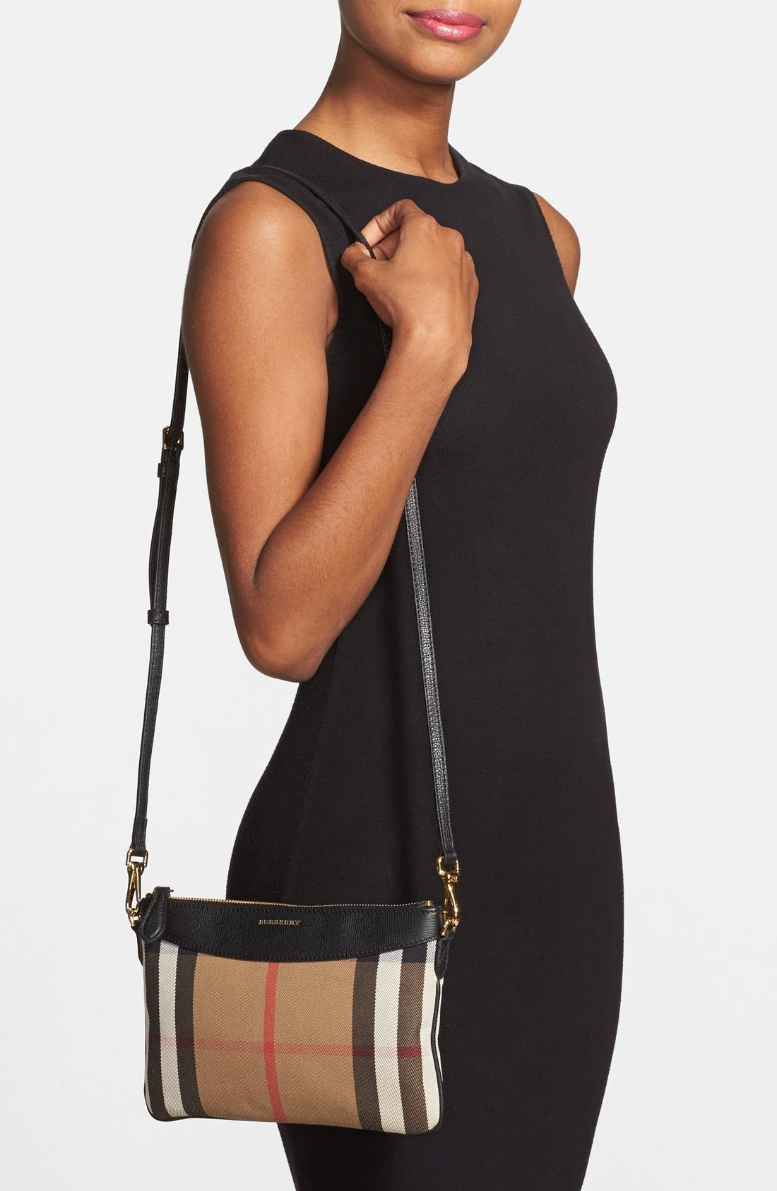 BURBERRY, 'Peyton - House Check' Crossbody Bag, Alternate thumbnail 3, color, 001