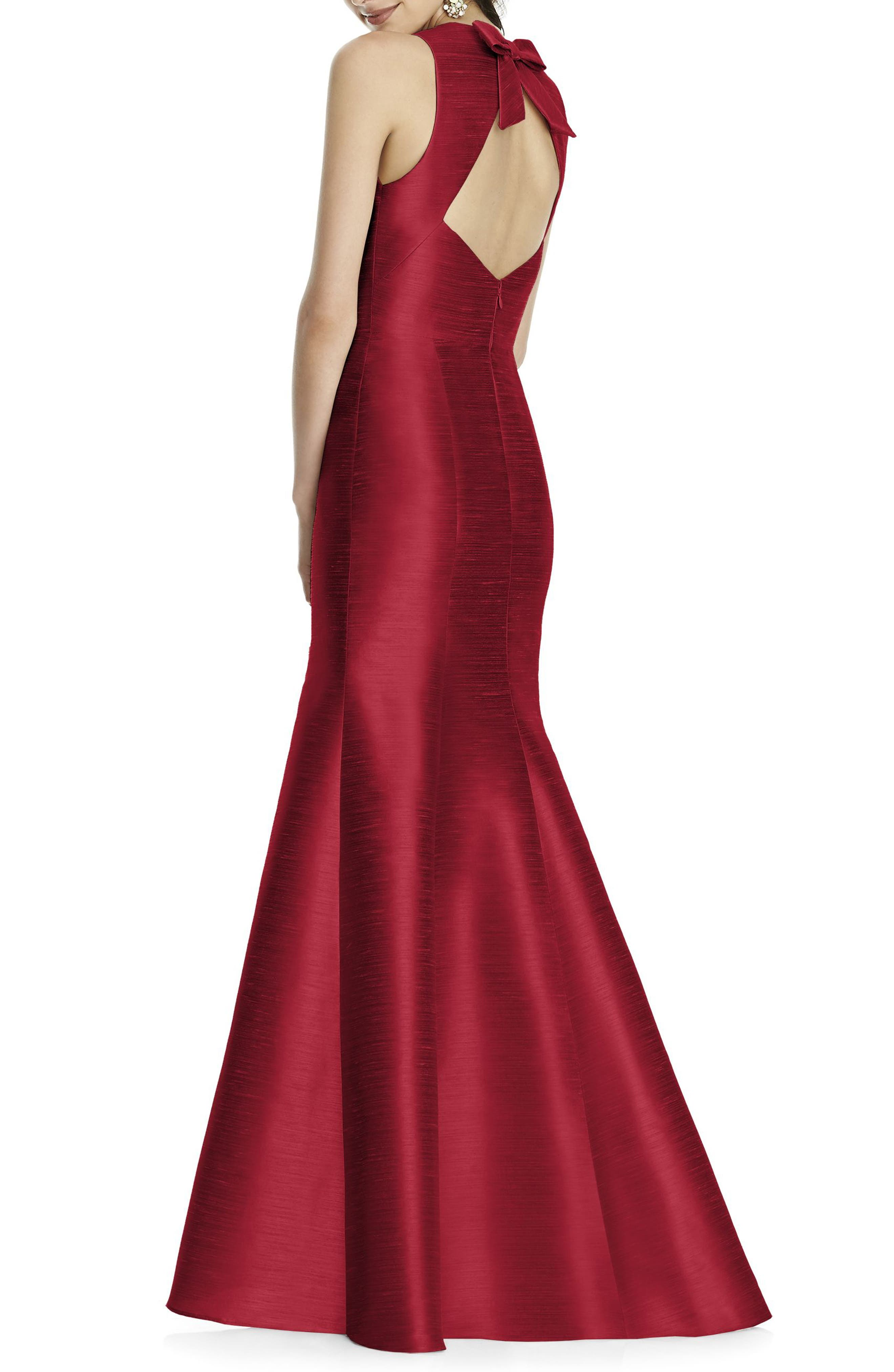 ALFRED SUNG, Dupioni Trumpet Gown, Alternate thumbnail 2, color, BARCELONA