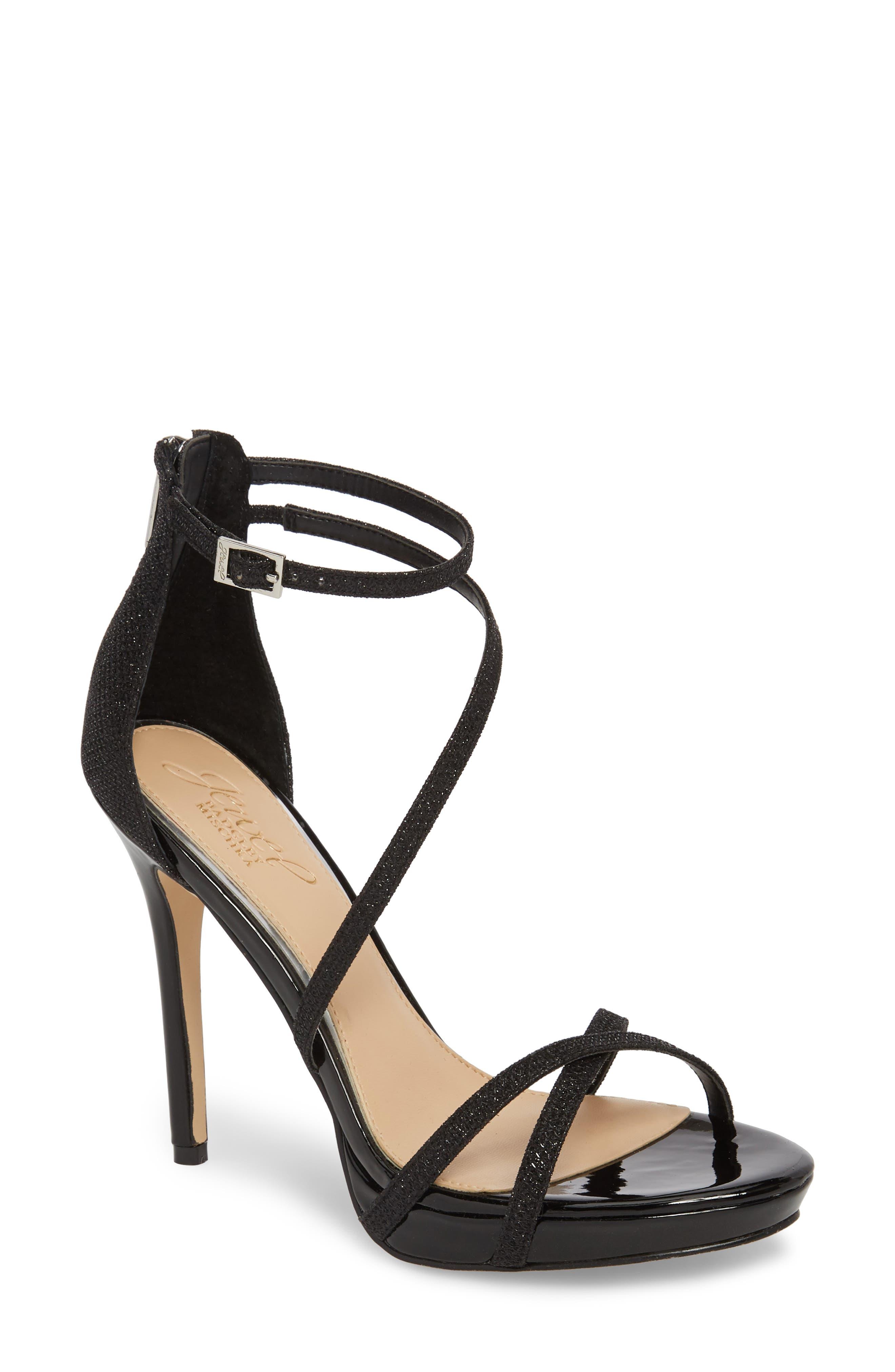 JEWEL BADGLEY MISCHKA, Galen Strappy Platform Sandal, Main thumbnail 1, color, BLACK GLITTER FABRIC