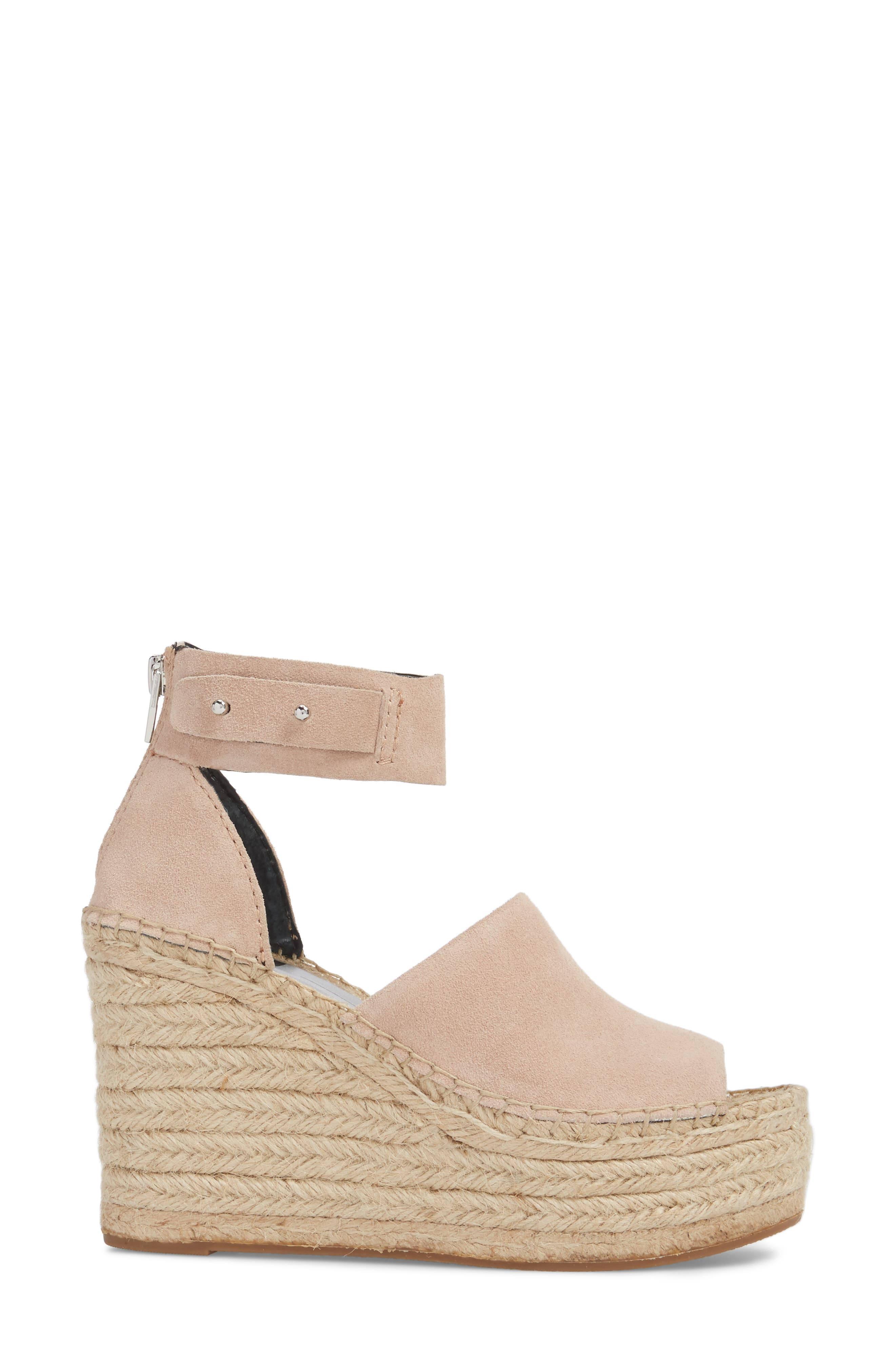 DOLCE VITA, Straw Wedge Espadrille Sandal, Alternate thumbnail 3, color, BLUSH