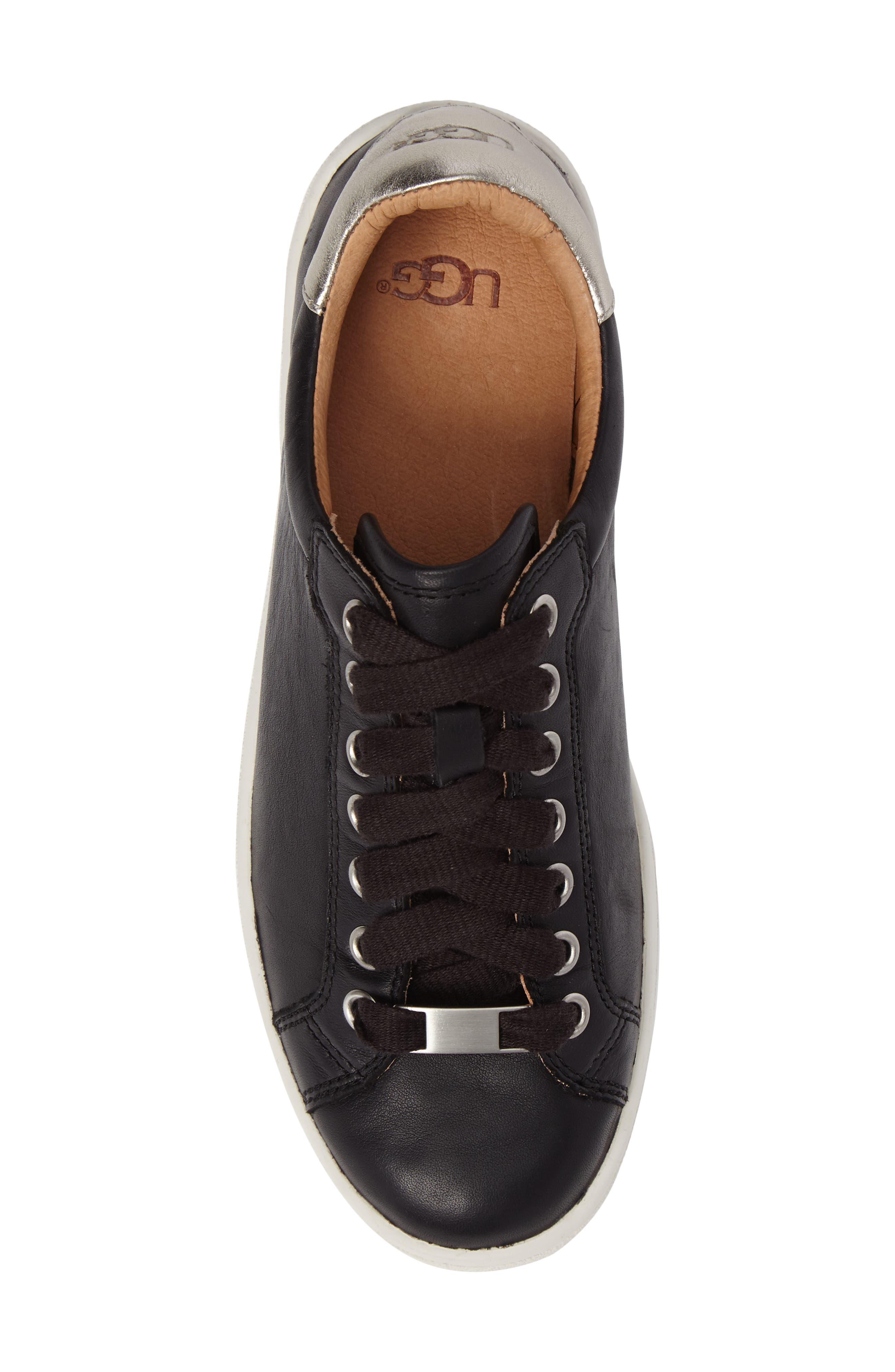 UGG<SUP>®</SUP>, Milo Sneaker, Alternate thumbnail 5, color, BLACK LEATHER