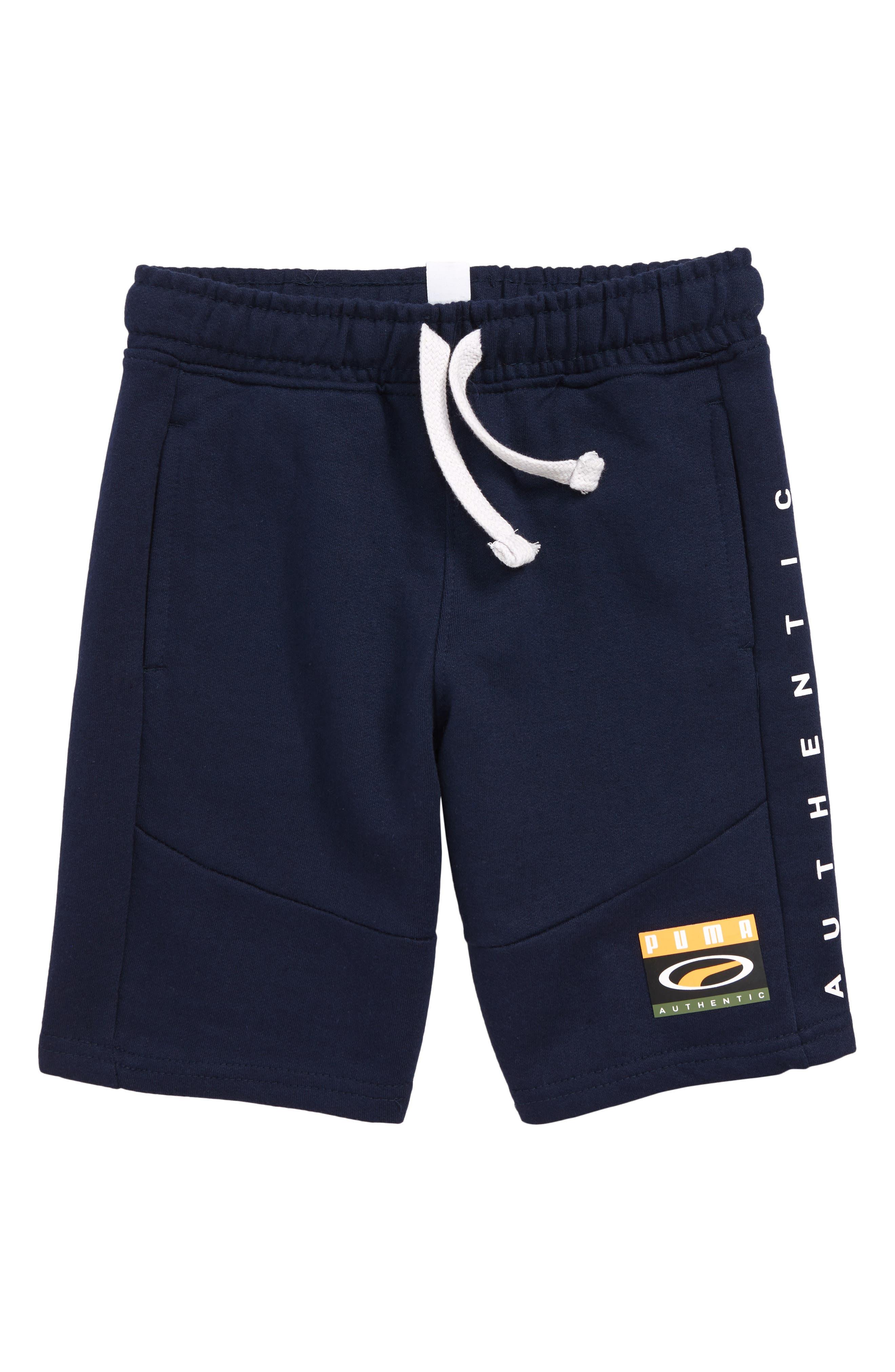 PUMA French Terry Shorts, Main, color, PEACOAT