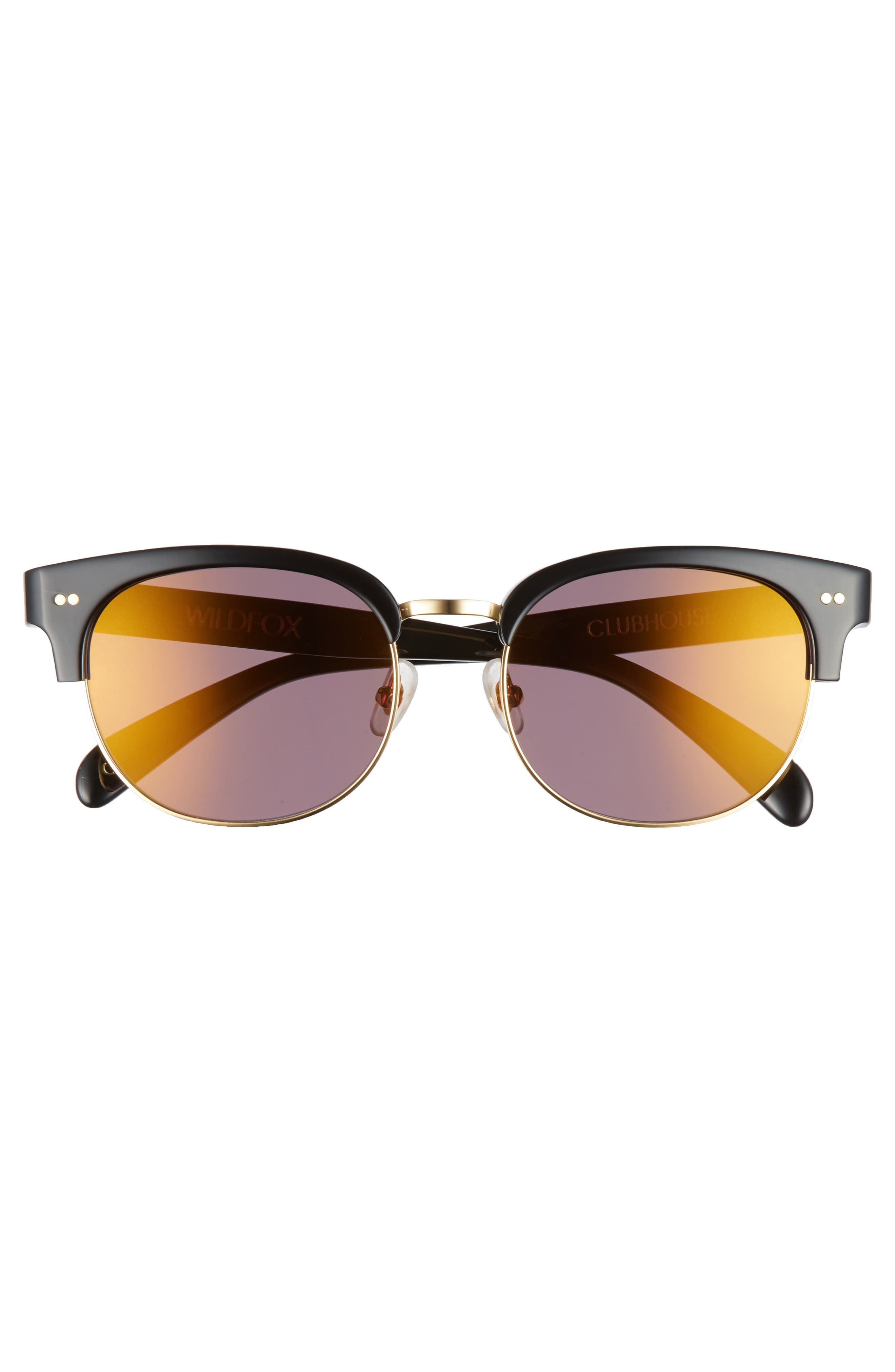 WILDFOX, Clubhouse 50mm Semi-Rimless Sunglasses, Alternate thumbnail 3, color, BLACK/ GOLD