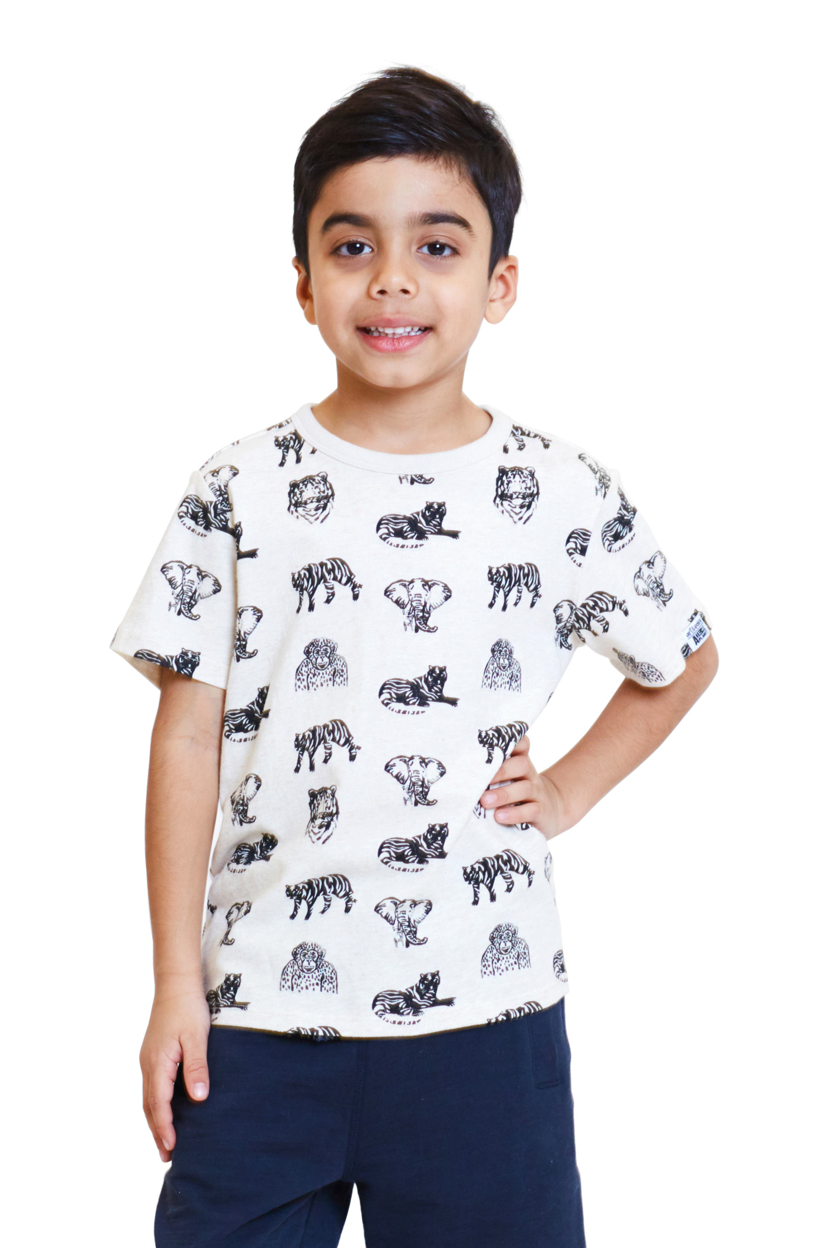 ART & EDEN, x Animal Planet Adam Organic Cotton T-Shirt, Alternate thumbnail 2, color, JUNGLE PATTERN