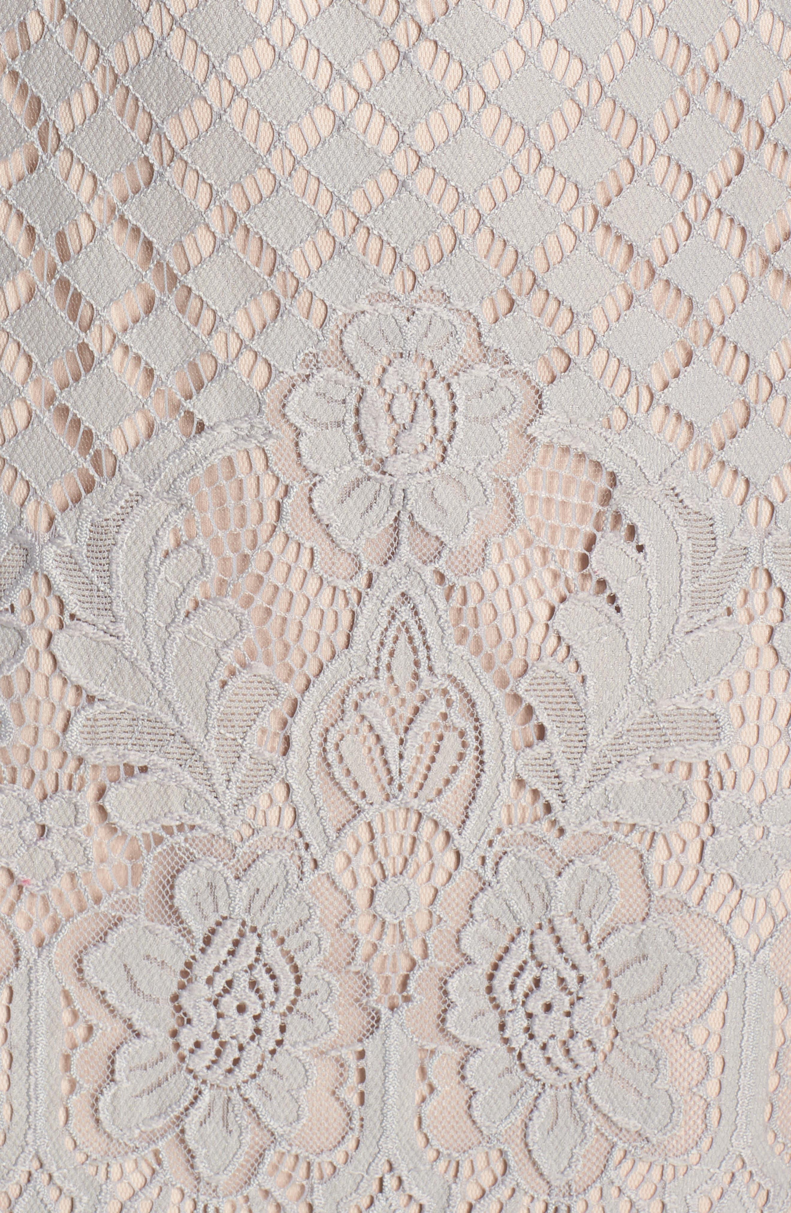TADASHI SHOJI, Tie Sleeve Lace Sheath Dress, Alternate thumbnail 6, color, PEWTER/ PETAL