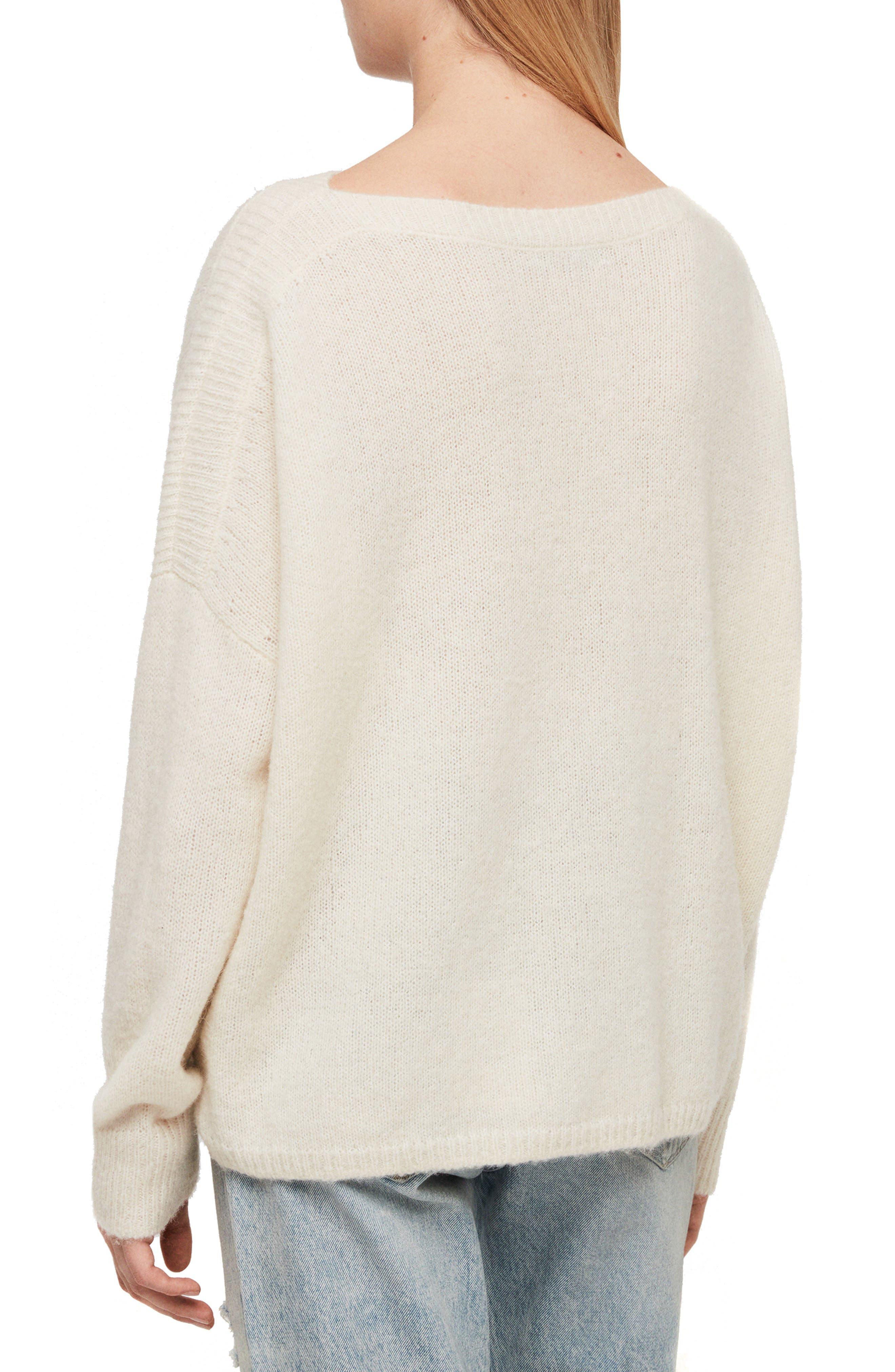 ALLSAINTS, Aris Sweater, Alternate thumbnail 2, color, CHALK WHITE