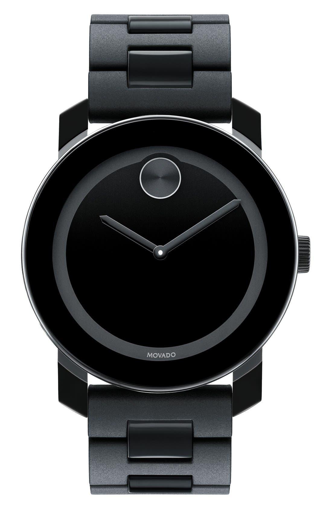 MOVADO, 'Large Bold' Bracelet Watch, 42mm, Main thumbnail 1, color, BLACK