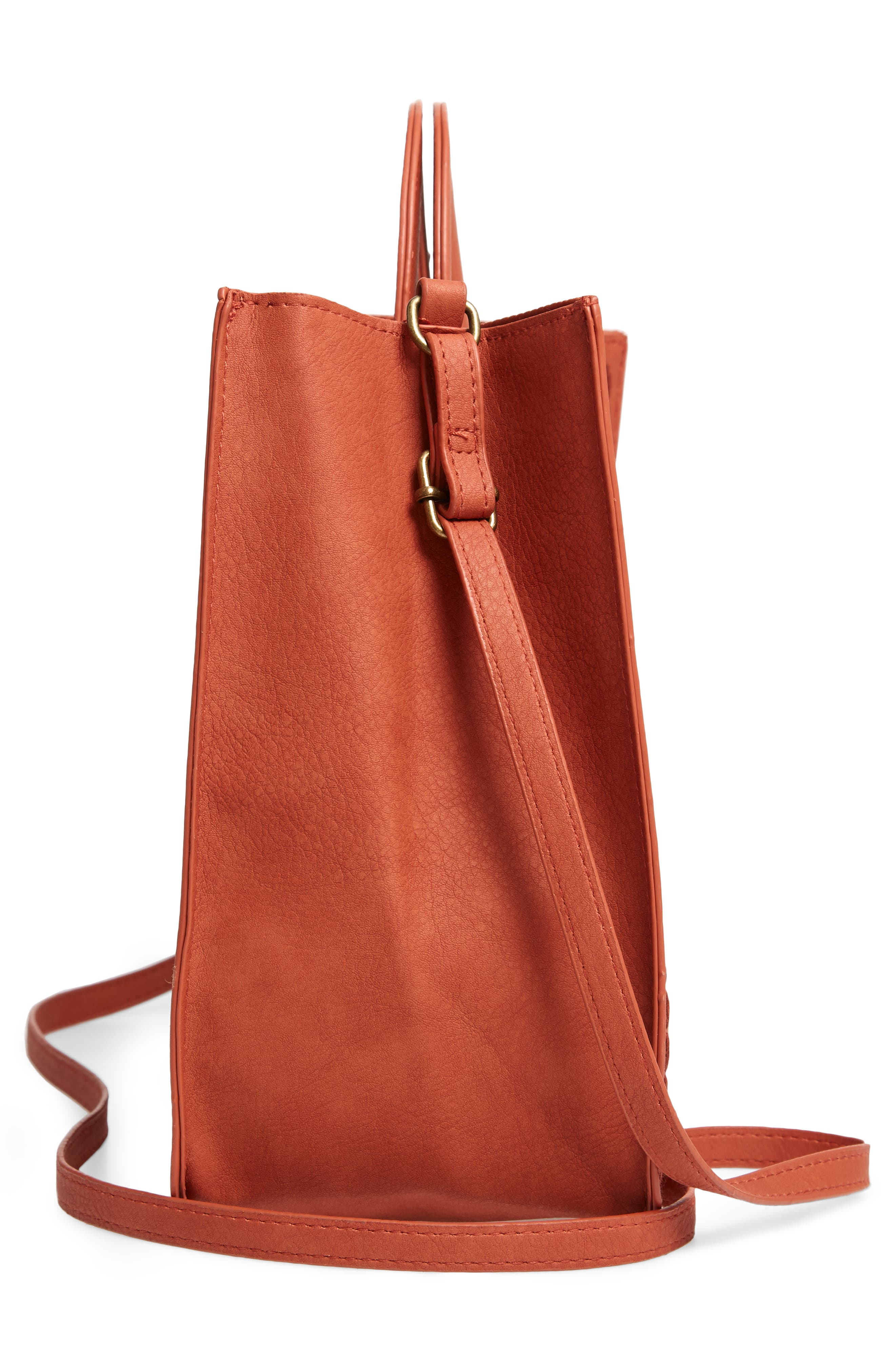T-SHIRT & JEANS, Faux Leather Top Handle Tote Bag, Alternate thumbnail 6, color, 805