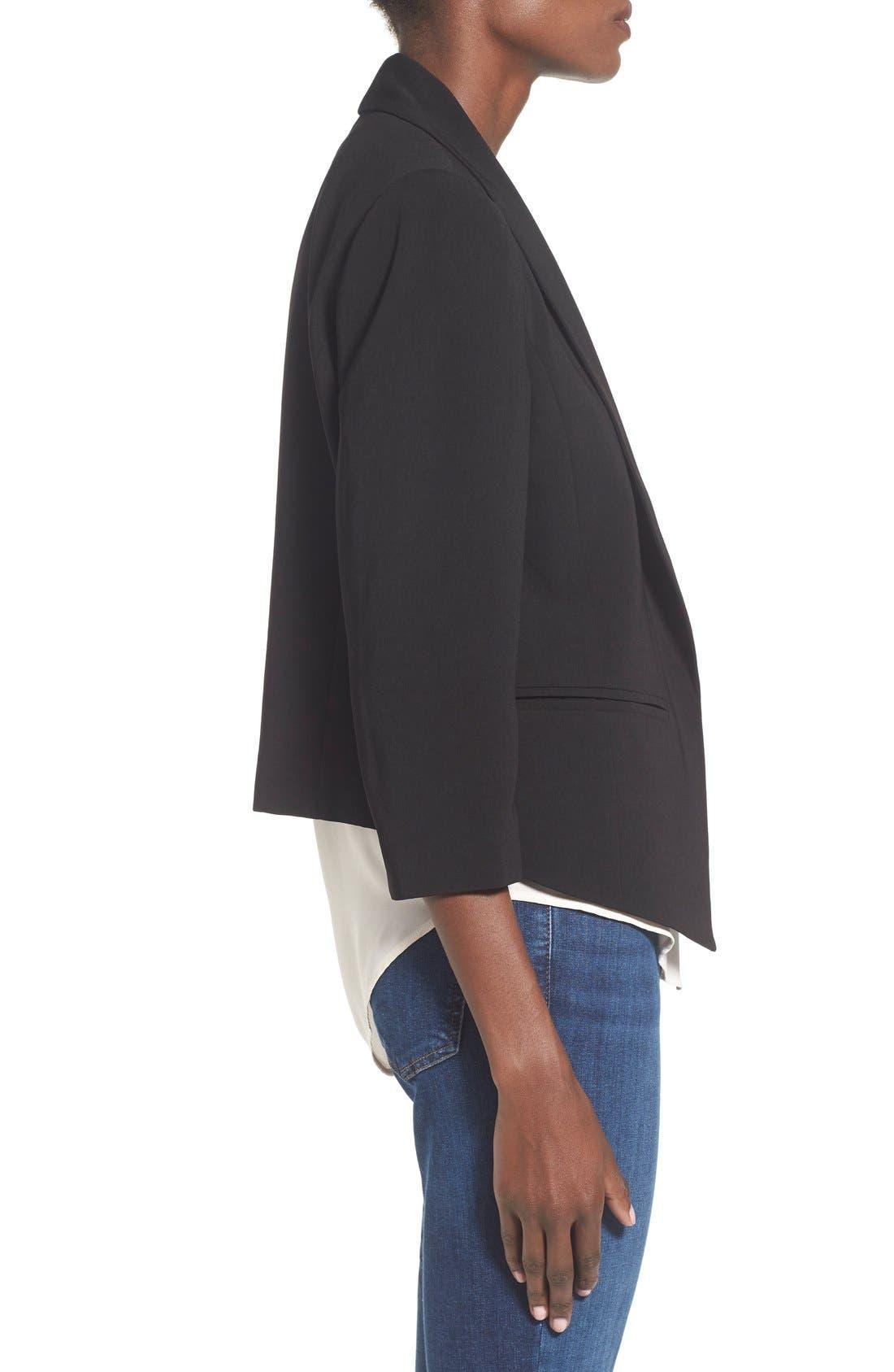 MURAL, 'Curve' Open Front Shawl Collar Blazer, Alternate thumbnail 6, color, BLACK