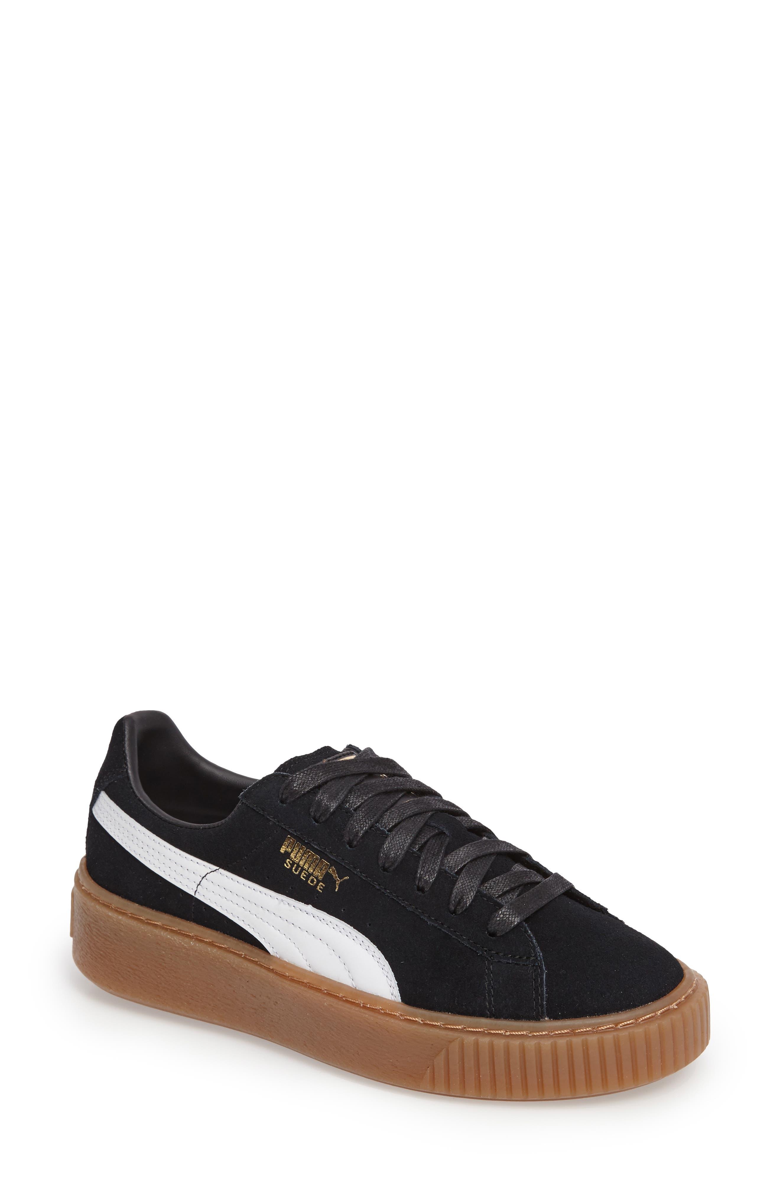 PUMA, Suede Platform Core Sneaker, Main thumbnail 1, color, 001