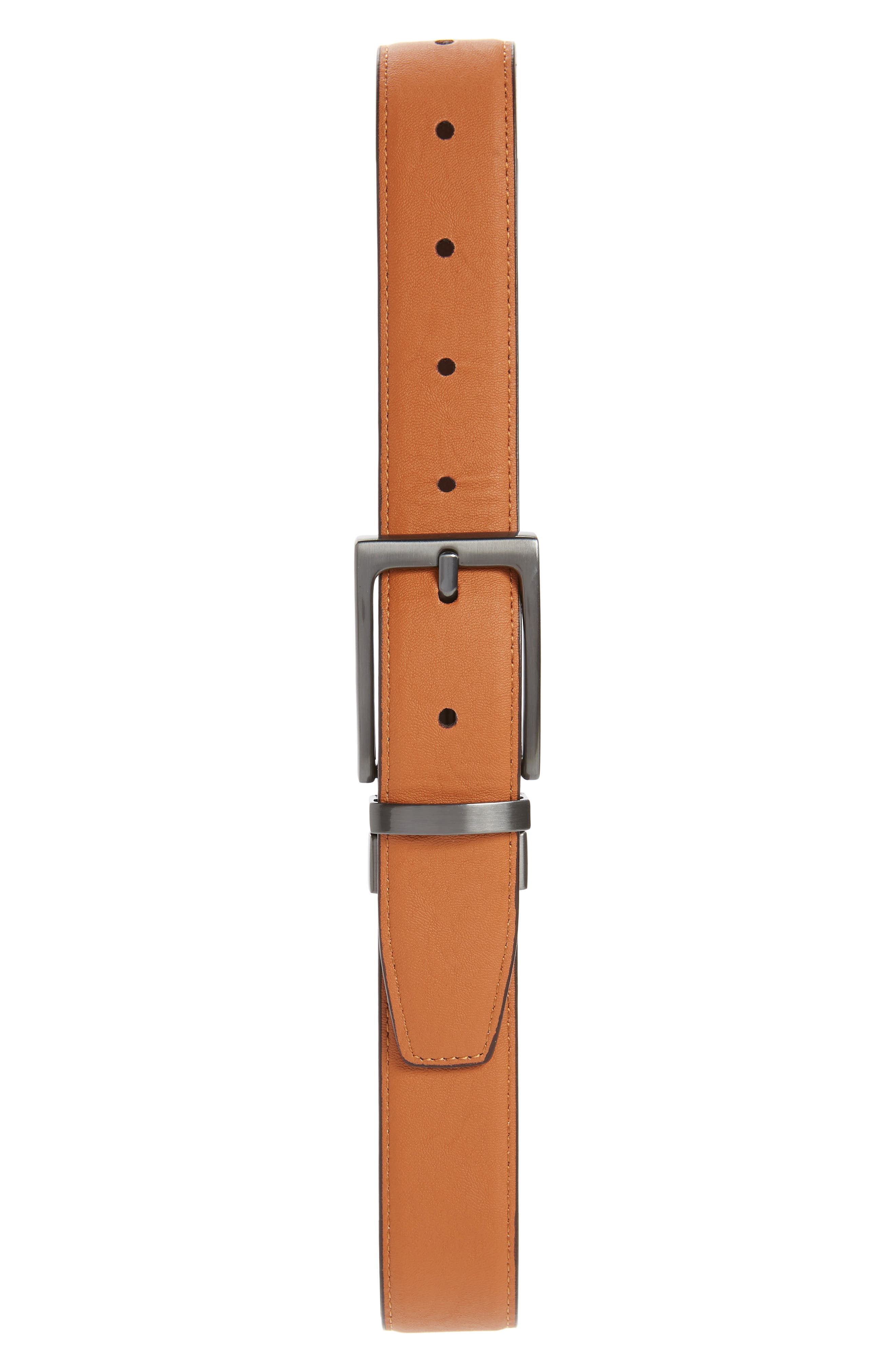 NORDSTROM, Reversible Faux Leather Belt, Alternate thumbnail 2, color, BROWN