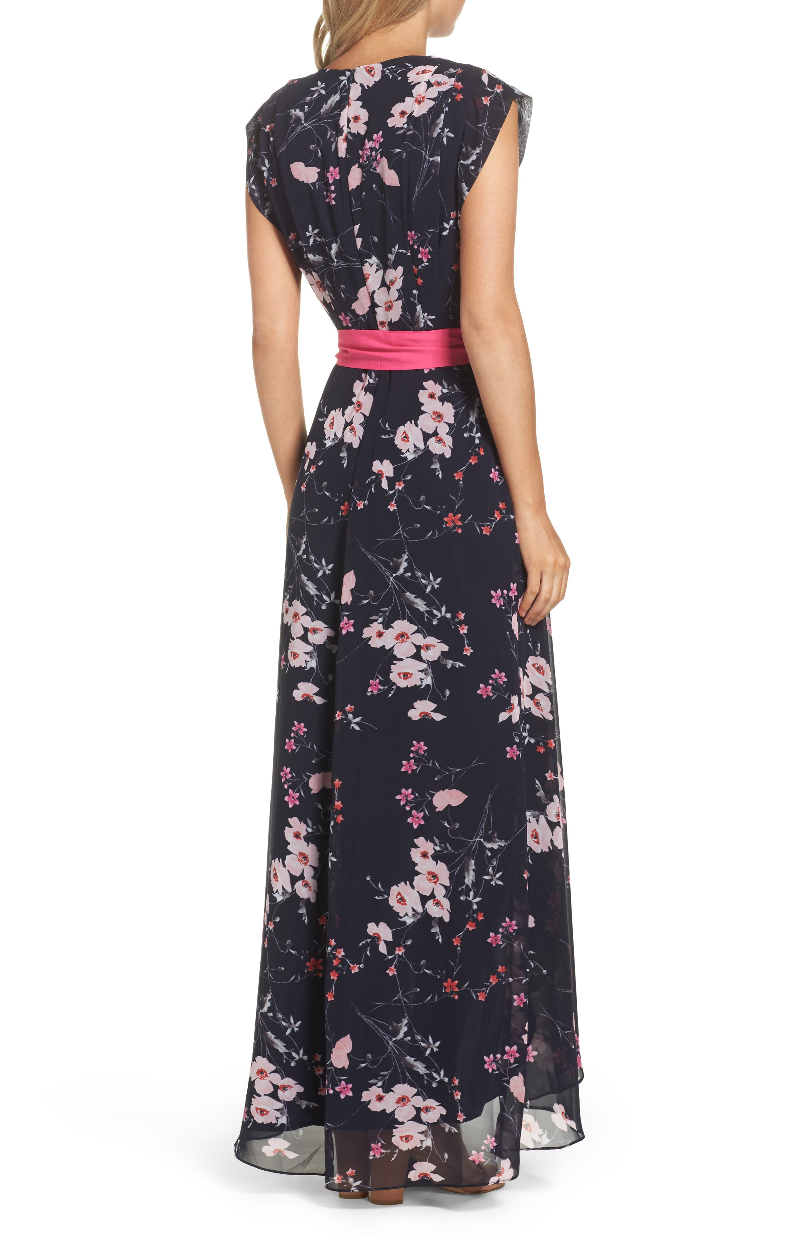 ELIZA J, High/Low Floral Faux Wrap Dress, Alternate thumbnail 2, color, NAVY/ PINK