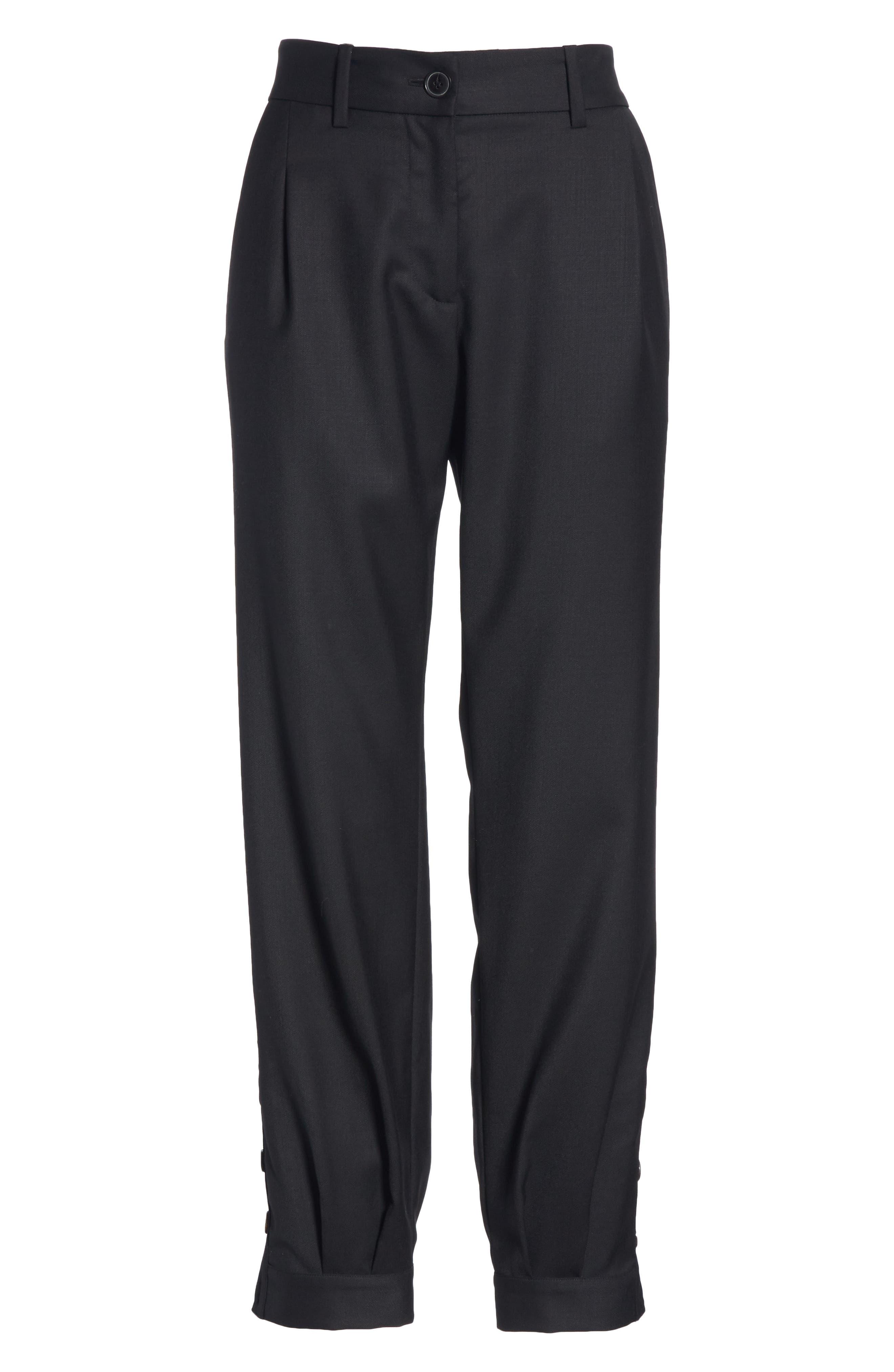 NILI LOTAN, Bertina Pleated Wool Crop Pants, Alternate thumbnail 7, color, BLACK
