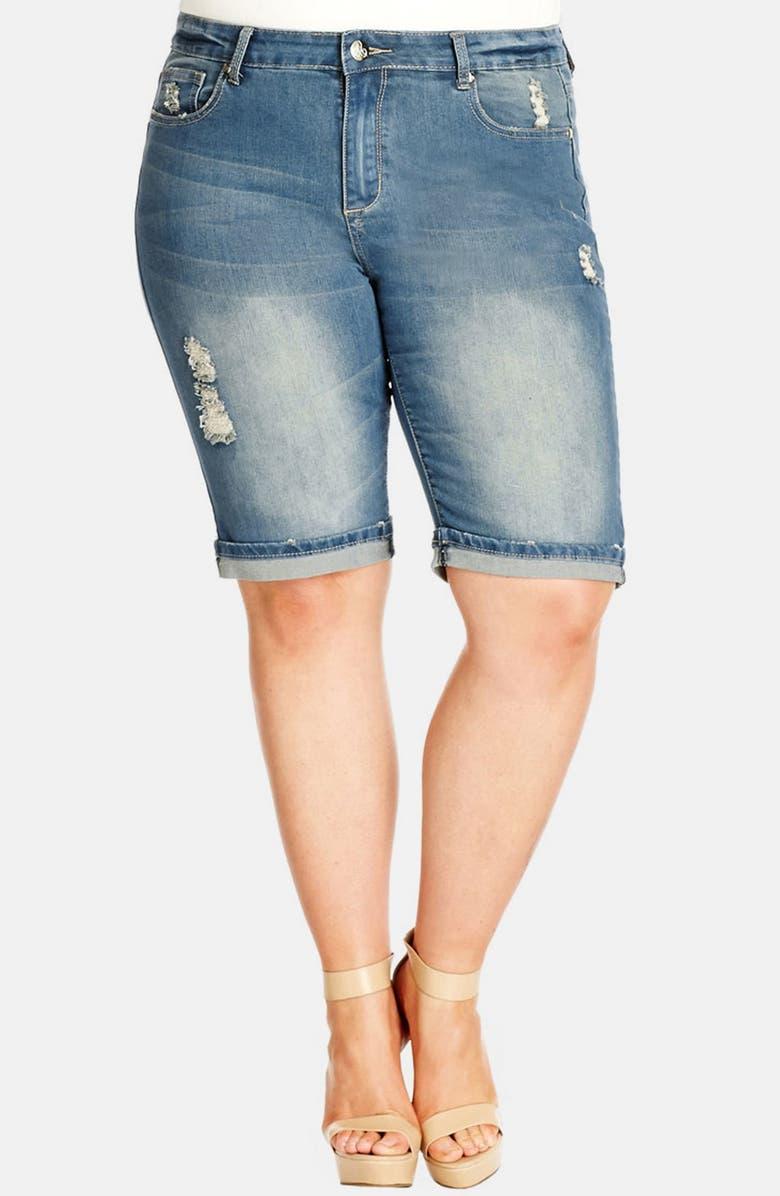 ae4229c3b0 City Chic Roll Cuff Distressed Denim Shorts (Mid Denim) (Plus Size ...