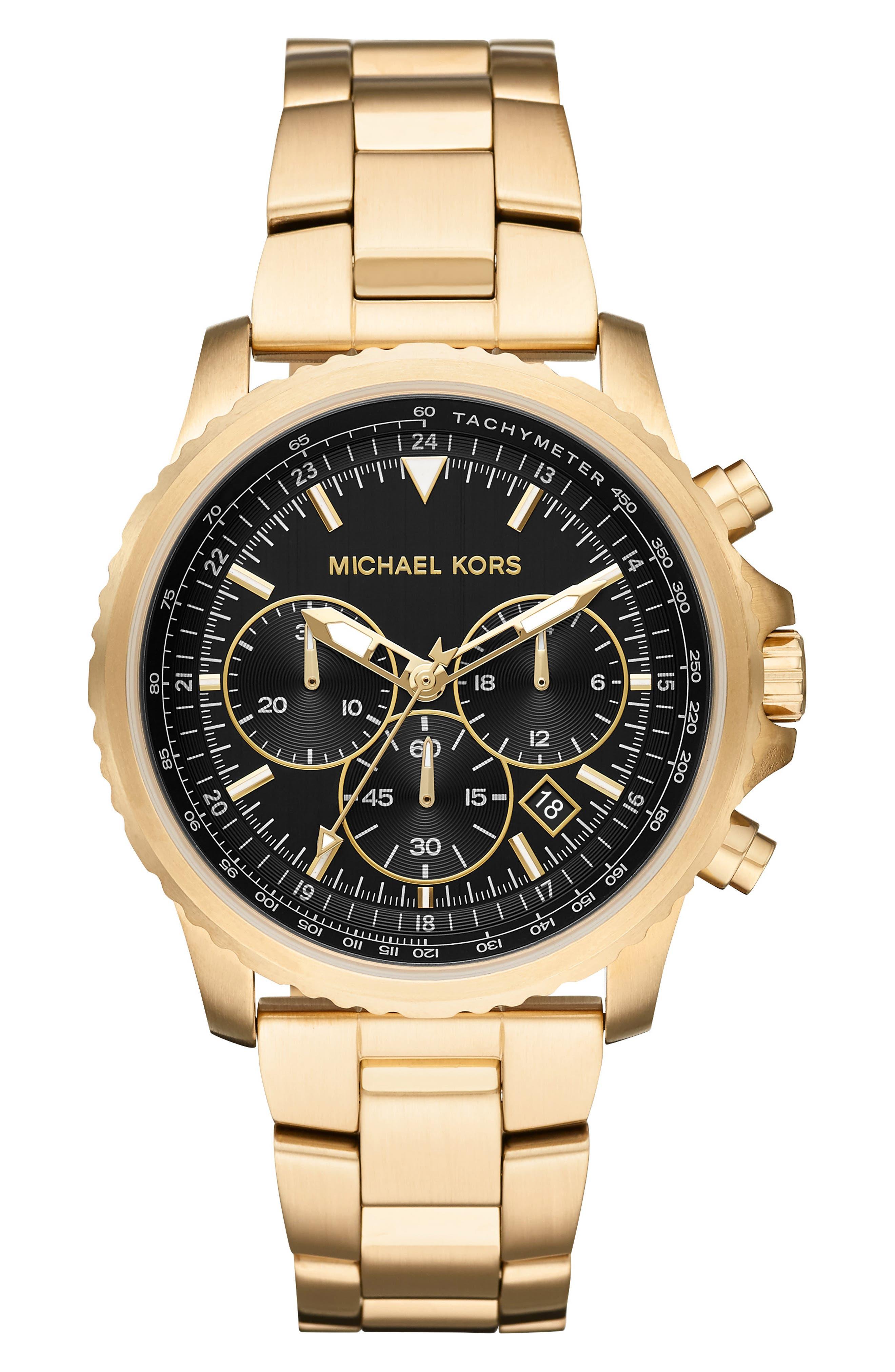 MICHAEL KORS, Theroux Bracelet Watch, 42mm, Main thumbnail 1, color, GOLD/ BLACK/ GOLD