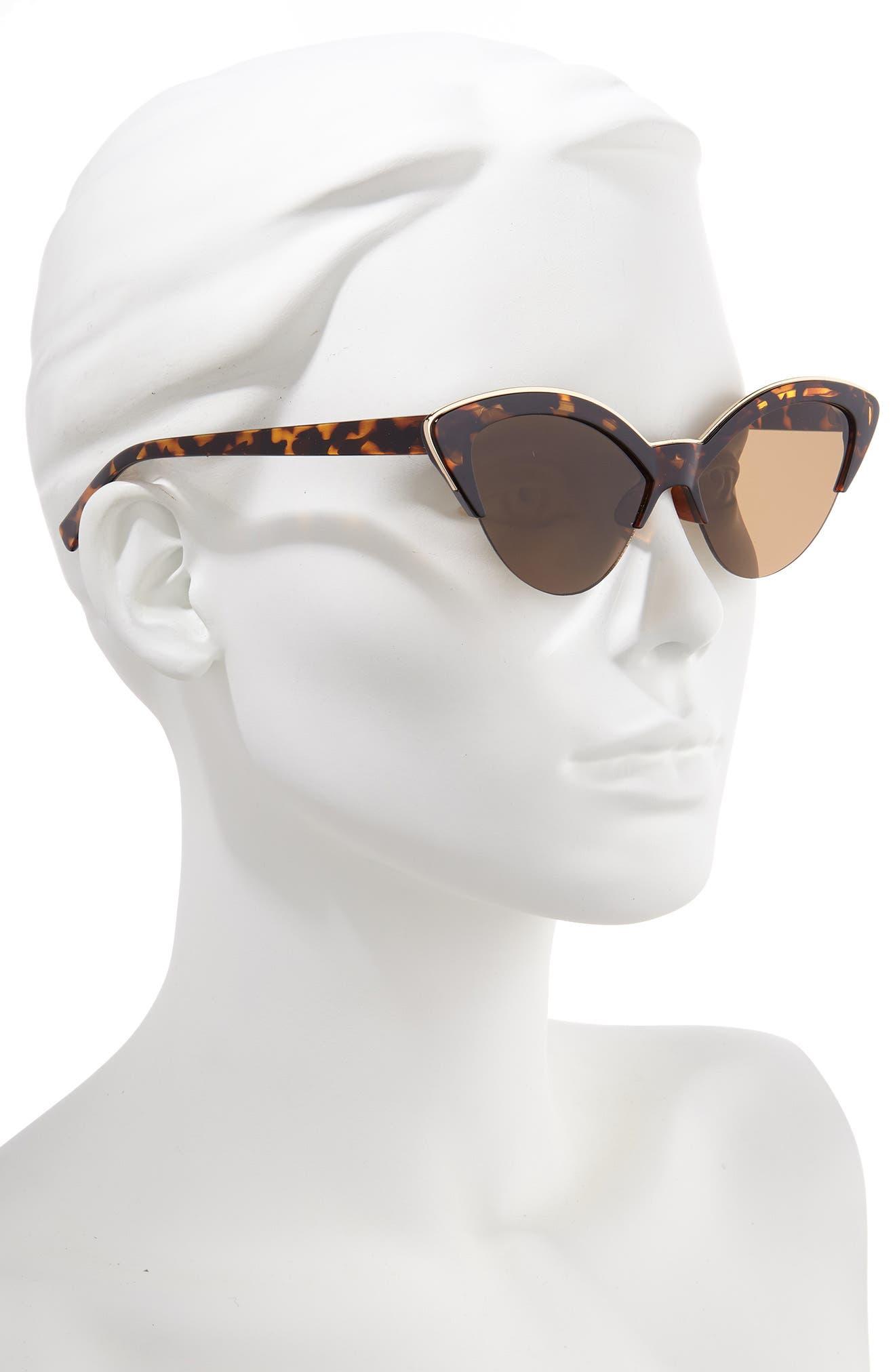 BP., Leith 54mm Metal Trim Cat Eye Sunglasses, Alternate thumbnail 2, color, TORT