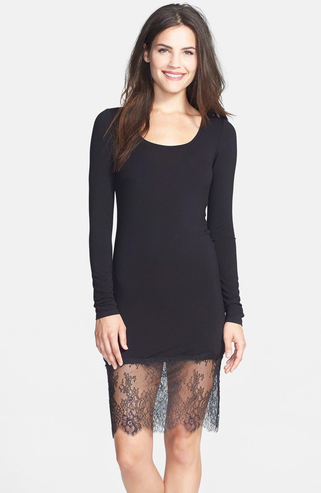 BCBGMAXAZRIA, 'Livi' Lace & Jersey Knit Sheath Dress, Main thumbnail 1, color, 001