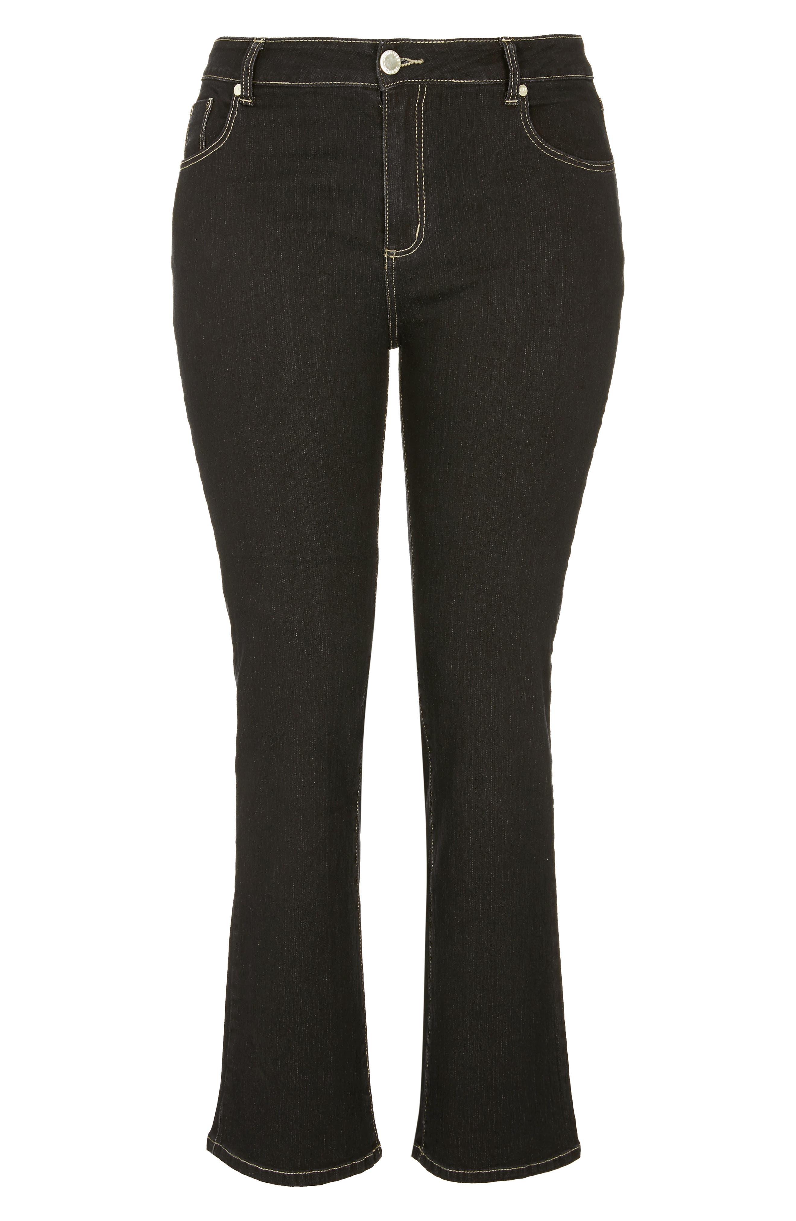 CITY CHIC, Regular Fit Bootcut Jeans, Alternate thumbnail 3, color, BLACK