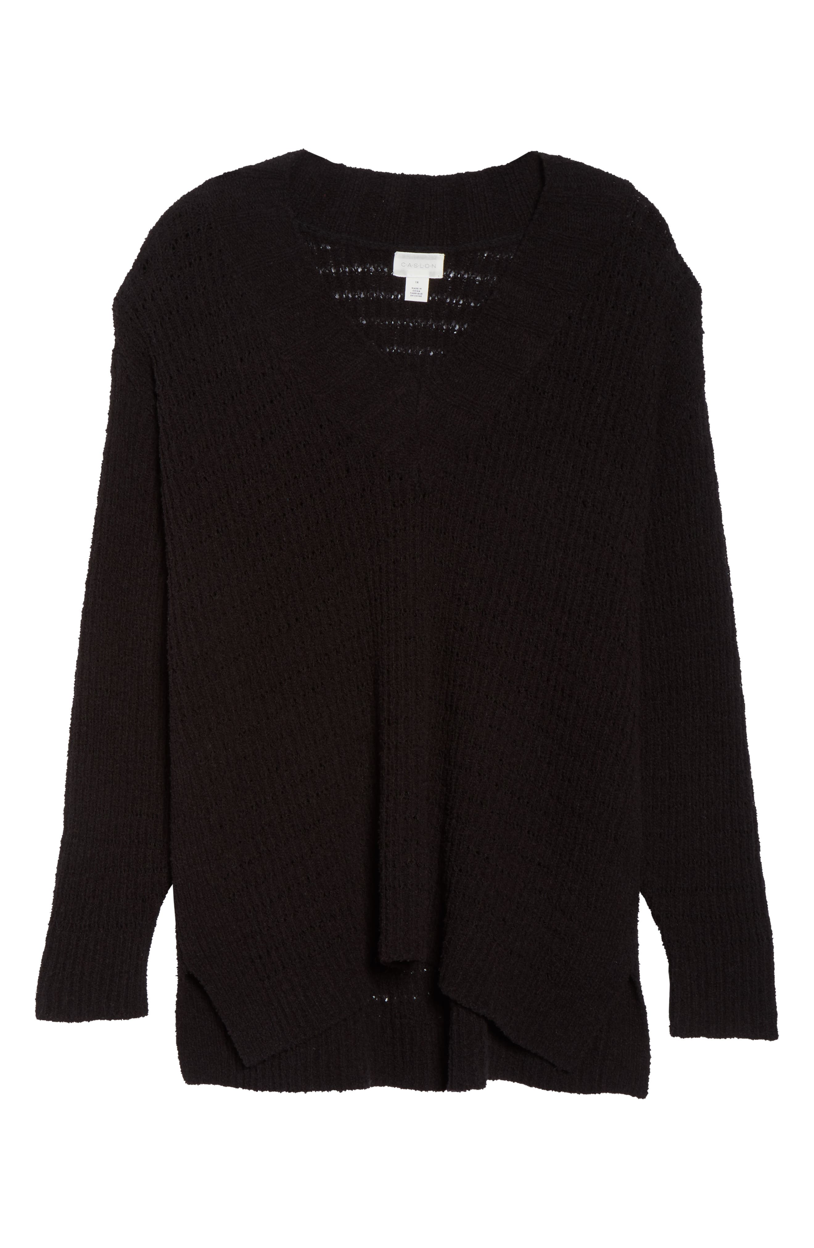 CASLON<SUP>®</SUP>, Tuck Stitch Sweater, Alternate thumbnail 6, color, BLACK